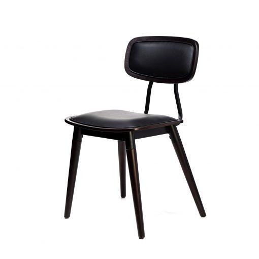felix chair – black vinyl seat – chocolate – black frame f2