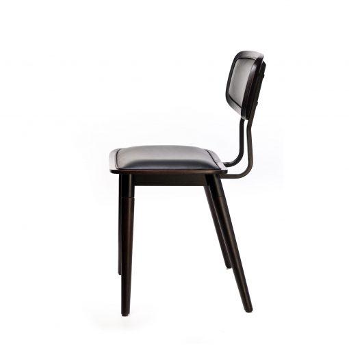 felix chair – black vinyl seat – chocolate – black frame f3