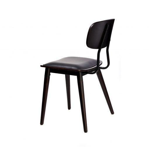 felix chair – black vinyl seat – chocolate – black frame f4