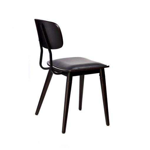 felix chair – black vinyl seat – chocolate – black frame f6