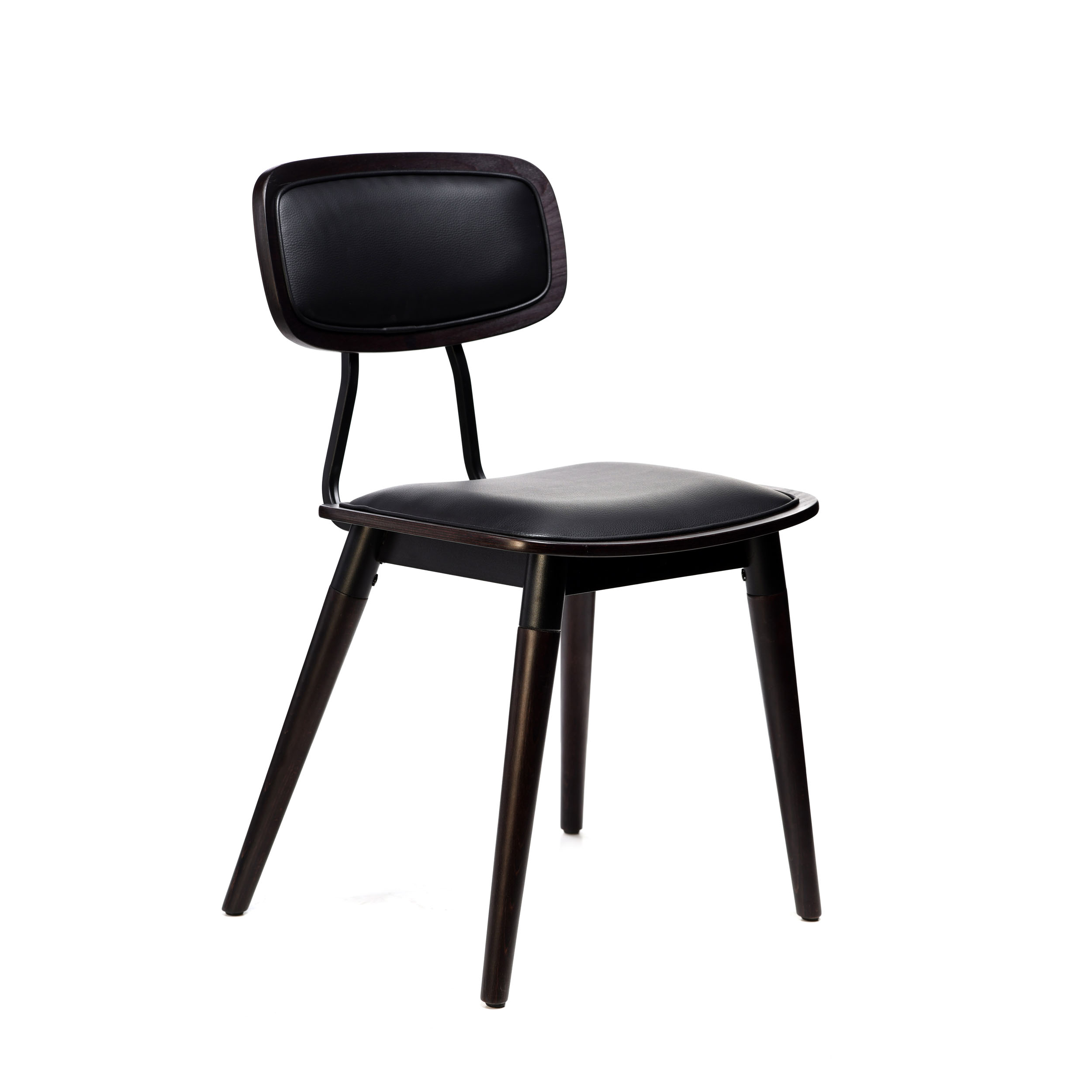 felix chair – black vinyl seat – chocolate – black frame f8