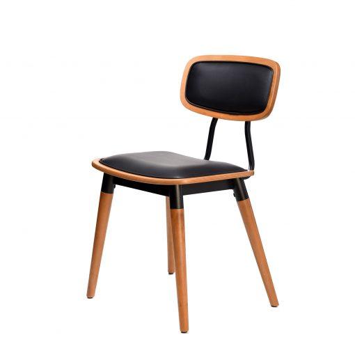 felix chair – black vinyl seat – lancaster oak – black frame g2