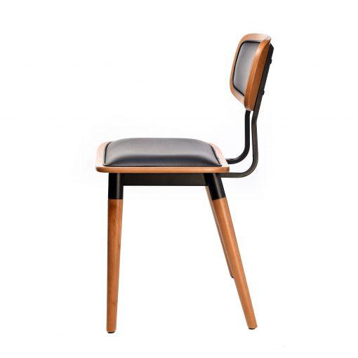 felix chair – black vinyl seat – lancaster oak – black frame g3