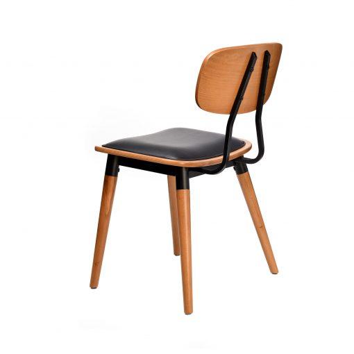 felix chair – black vinyl seat – lancaster oak – black frame g4