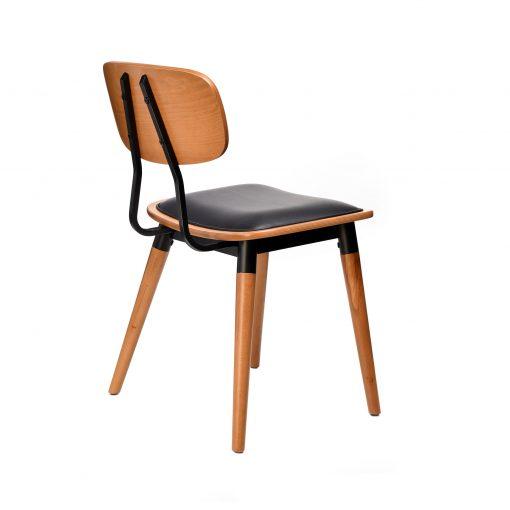 felix chair – black vinyl seat – lancaster oak – black frame g6