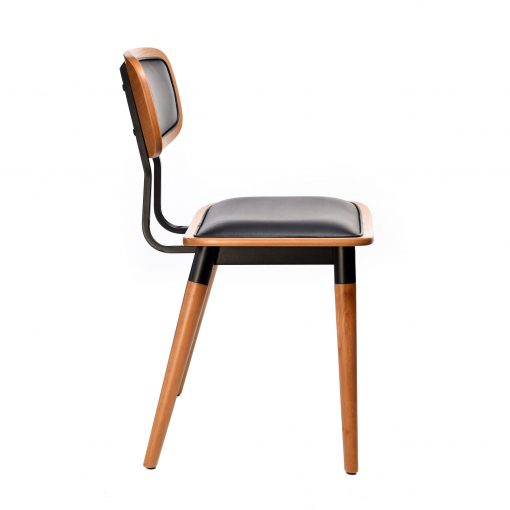 felix chair – black vinyl seat – lancaster oak – black frame g7
