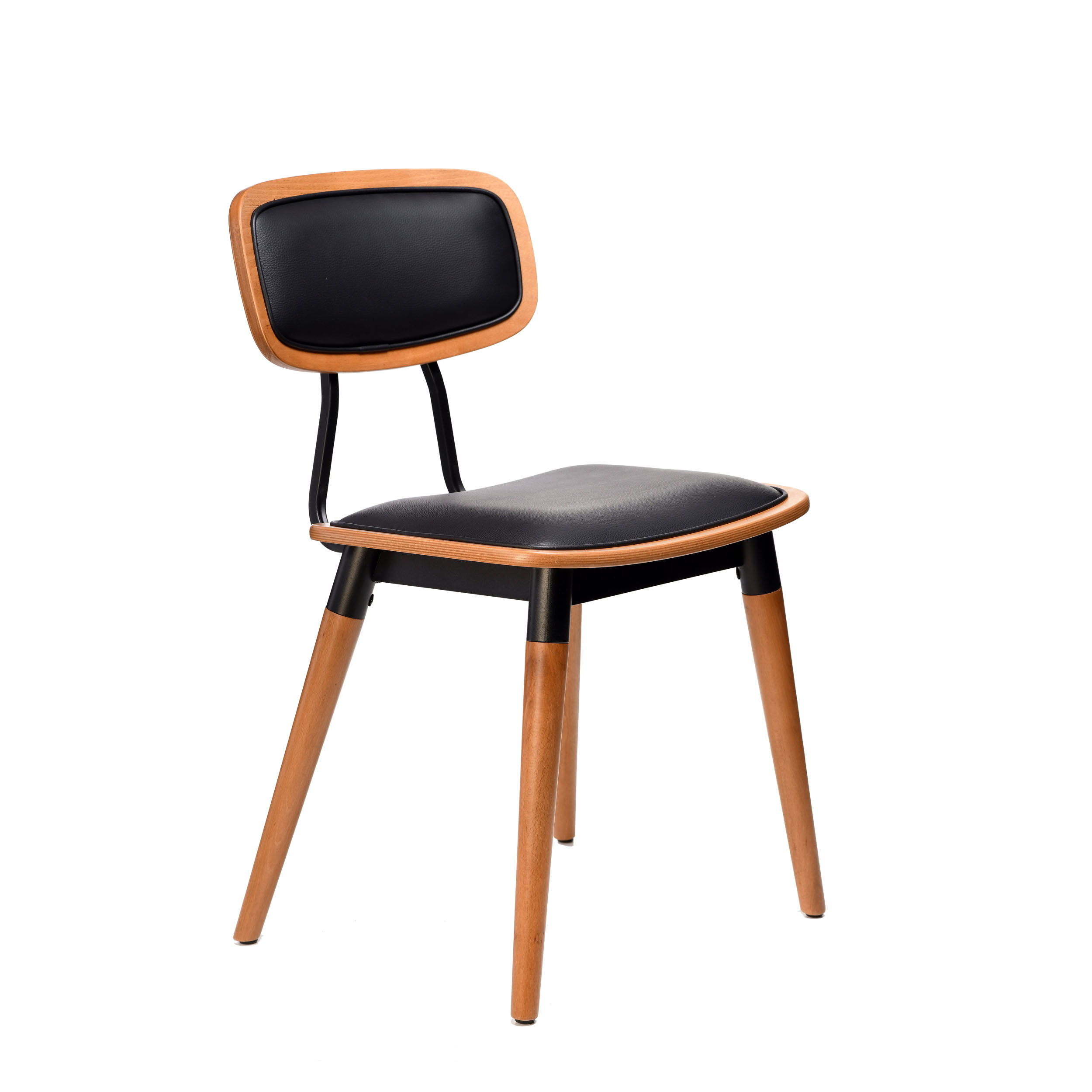 felix chair – black vinyl seat – lancaster oak – black frame g8