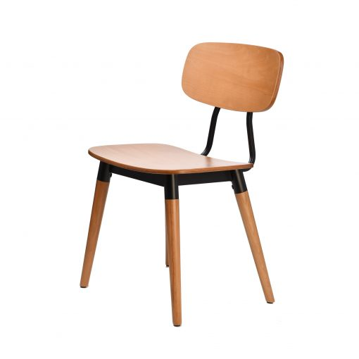 felix chair – ply seat – lancaster oak – black frame i2