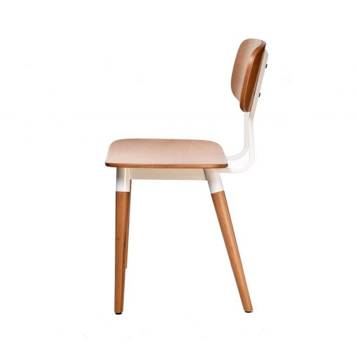 felix chair – ply seat – natural – white frame h3