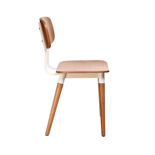 felix chair – ply seat – natural – white frame h7