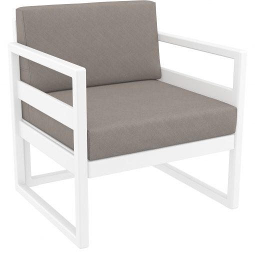 044 ml armchair white brown front side
