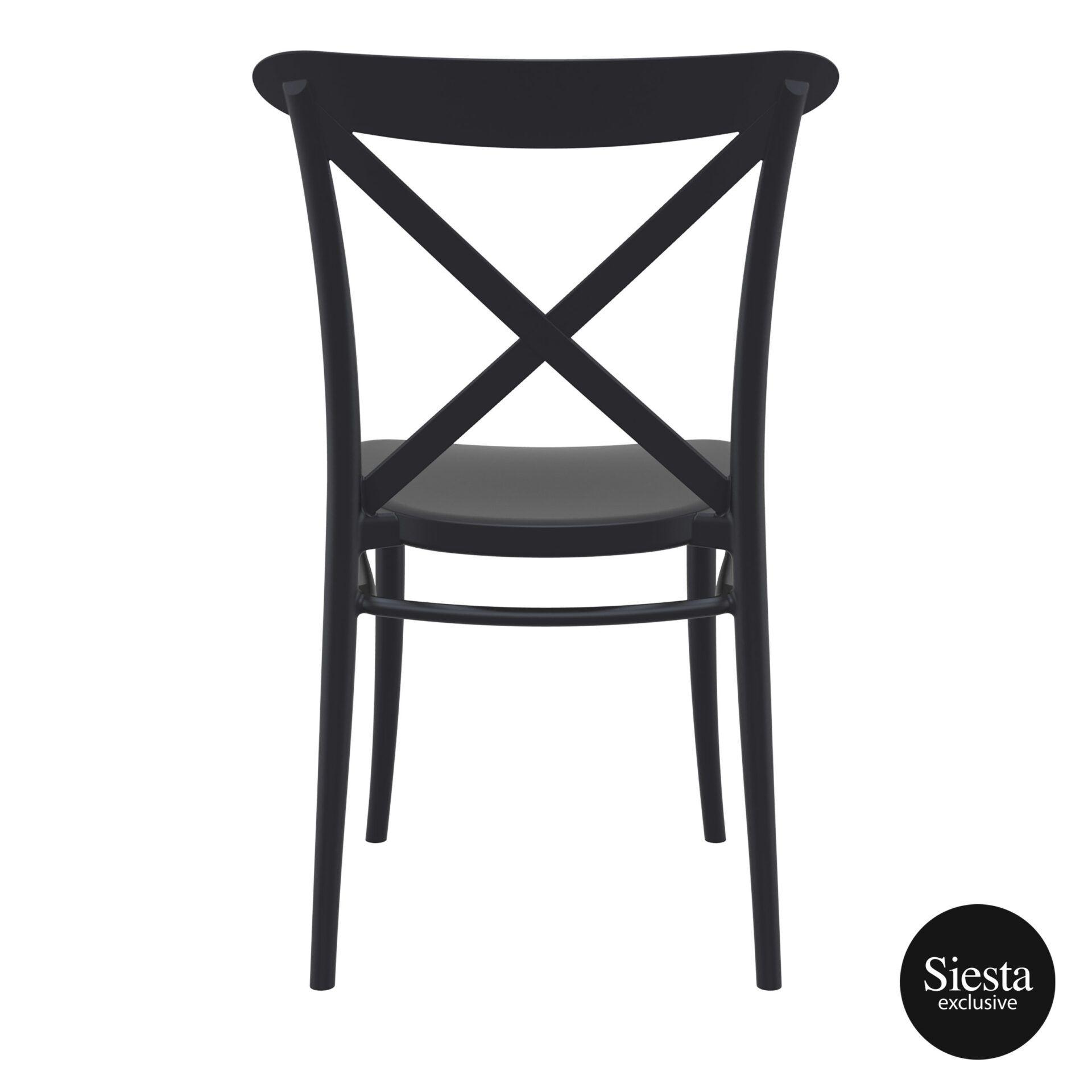 cafe polypropylene cross chair black back 1 1