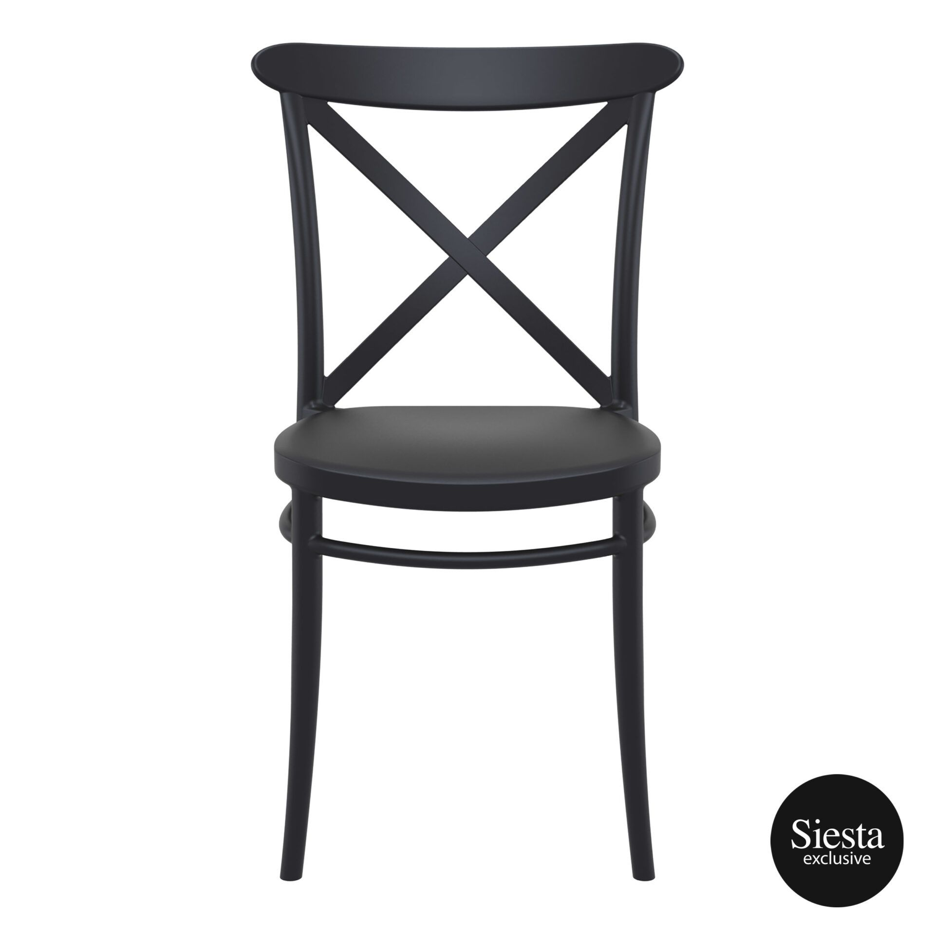 cafe polypropylene cross chair black front 1 1