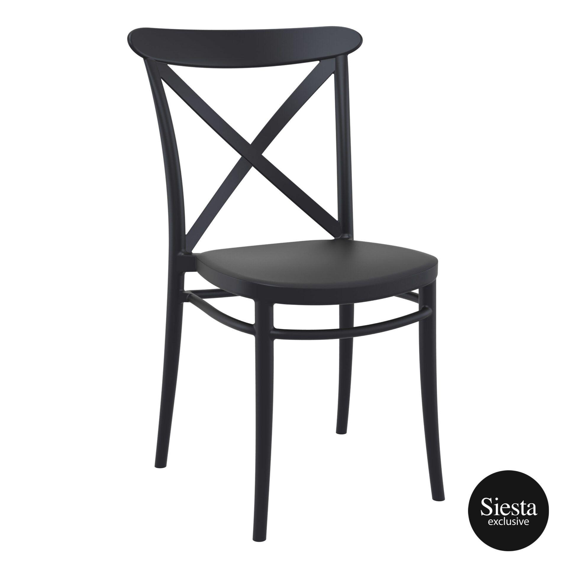 cafe polypropylene cross chair black front side 1 1