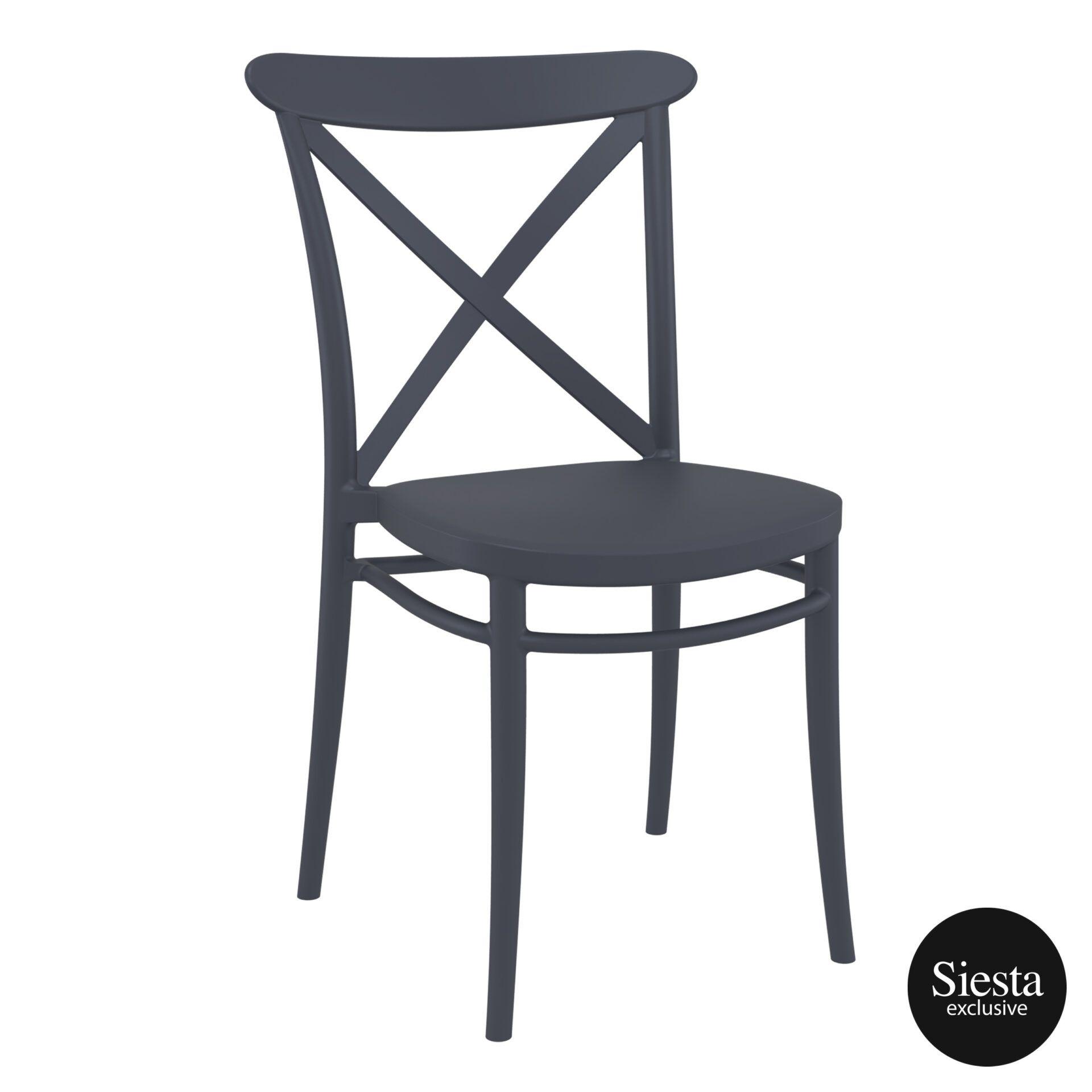 cafe polypropylene cross chair darkgrey front side 3