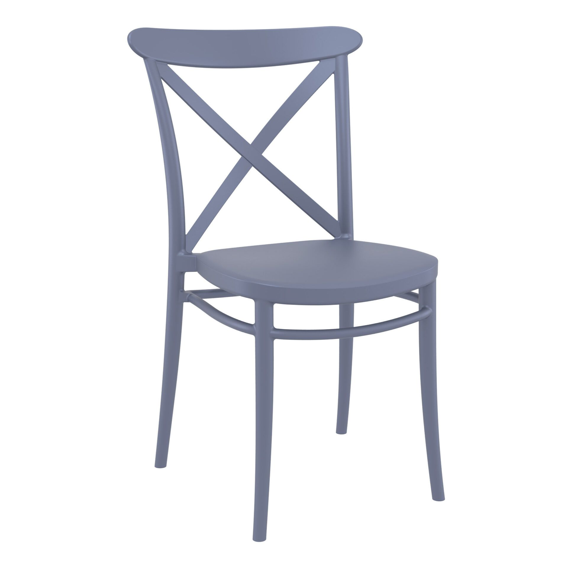 cafe polypropylene cross chair darkgrey front side