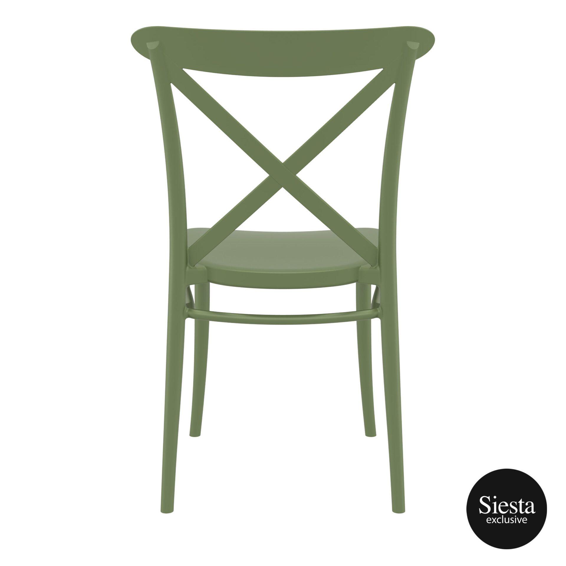 cafe polypropylene cross chair olive green back 1 1