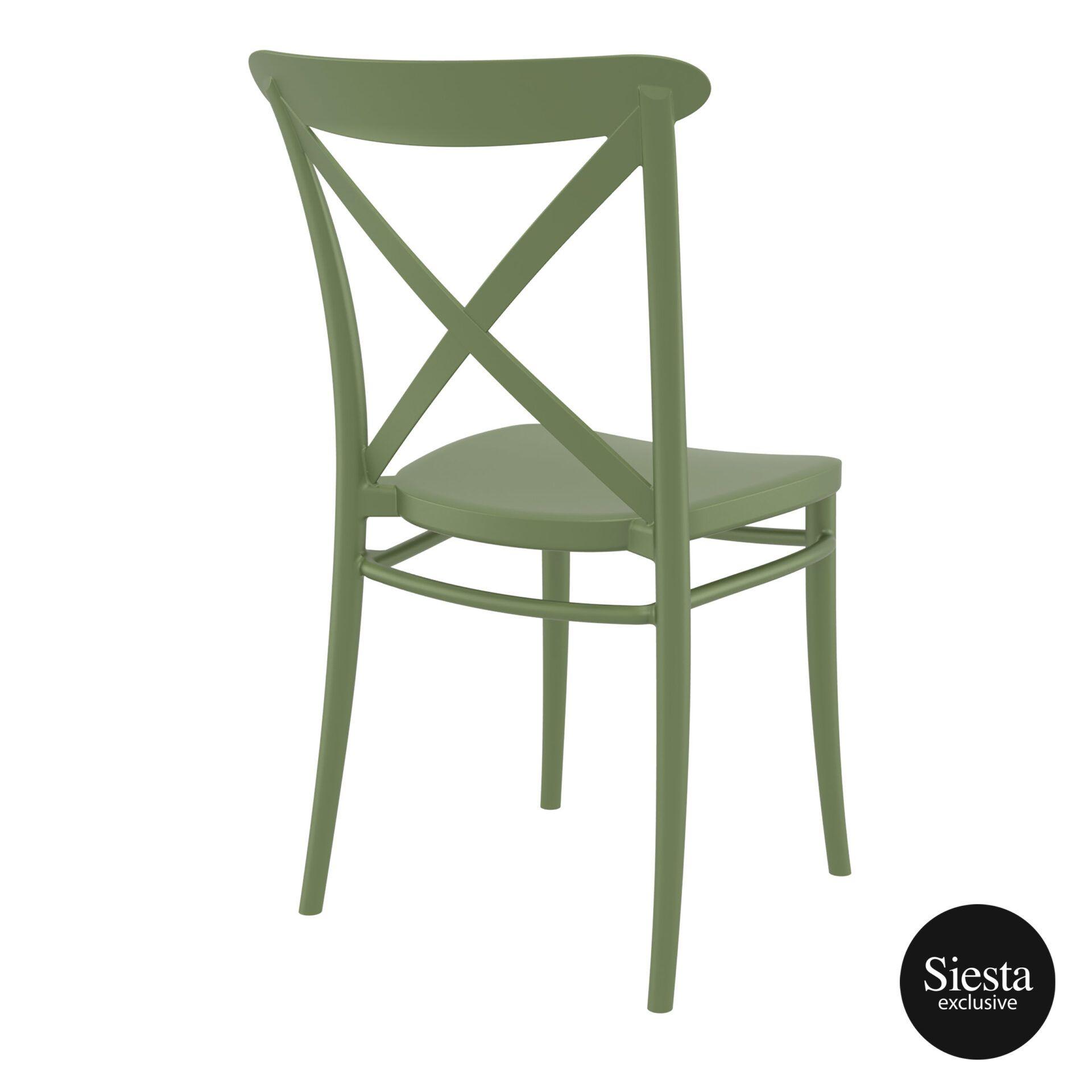 cafe polypropylene cross chair olive green back side 1 1