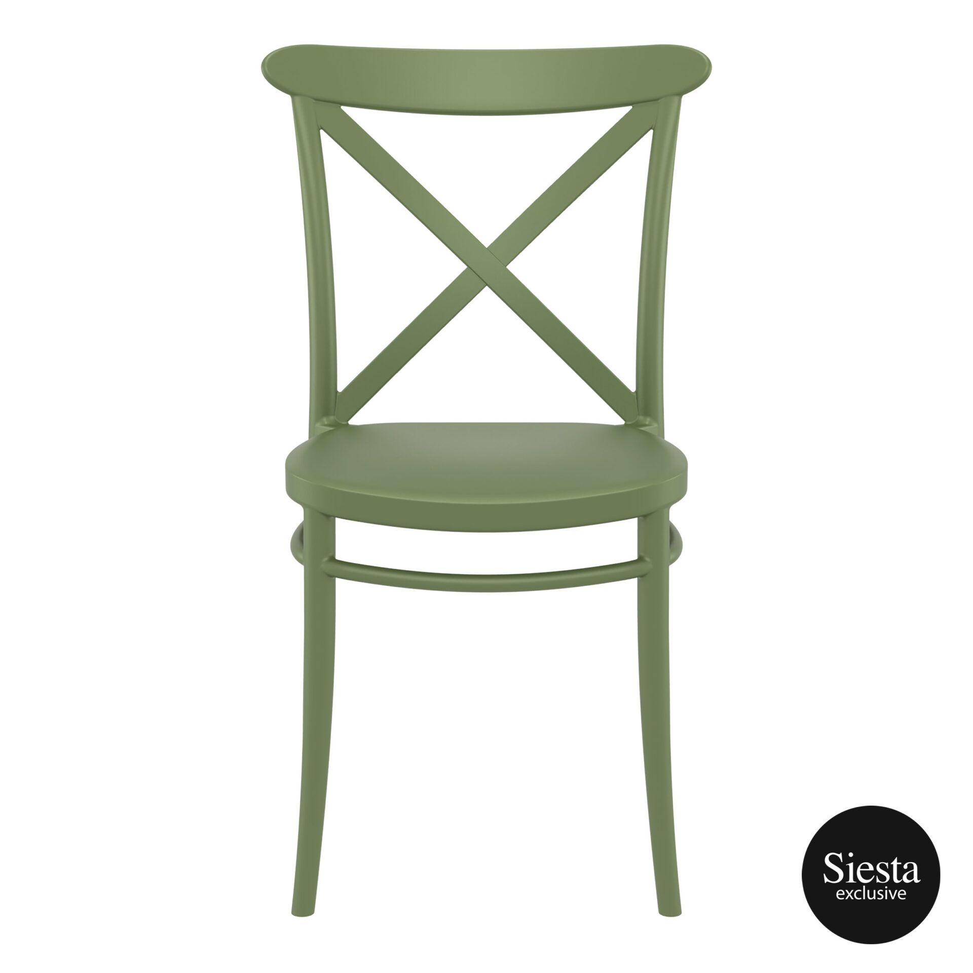 cafe polypropylene cross chair olive green front 1 1