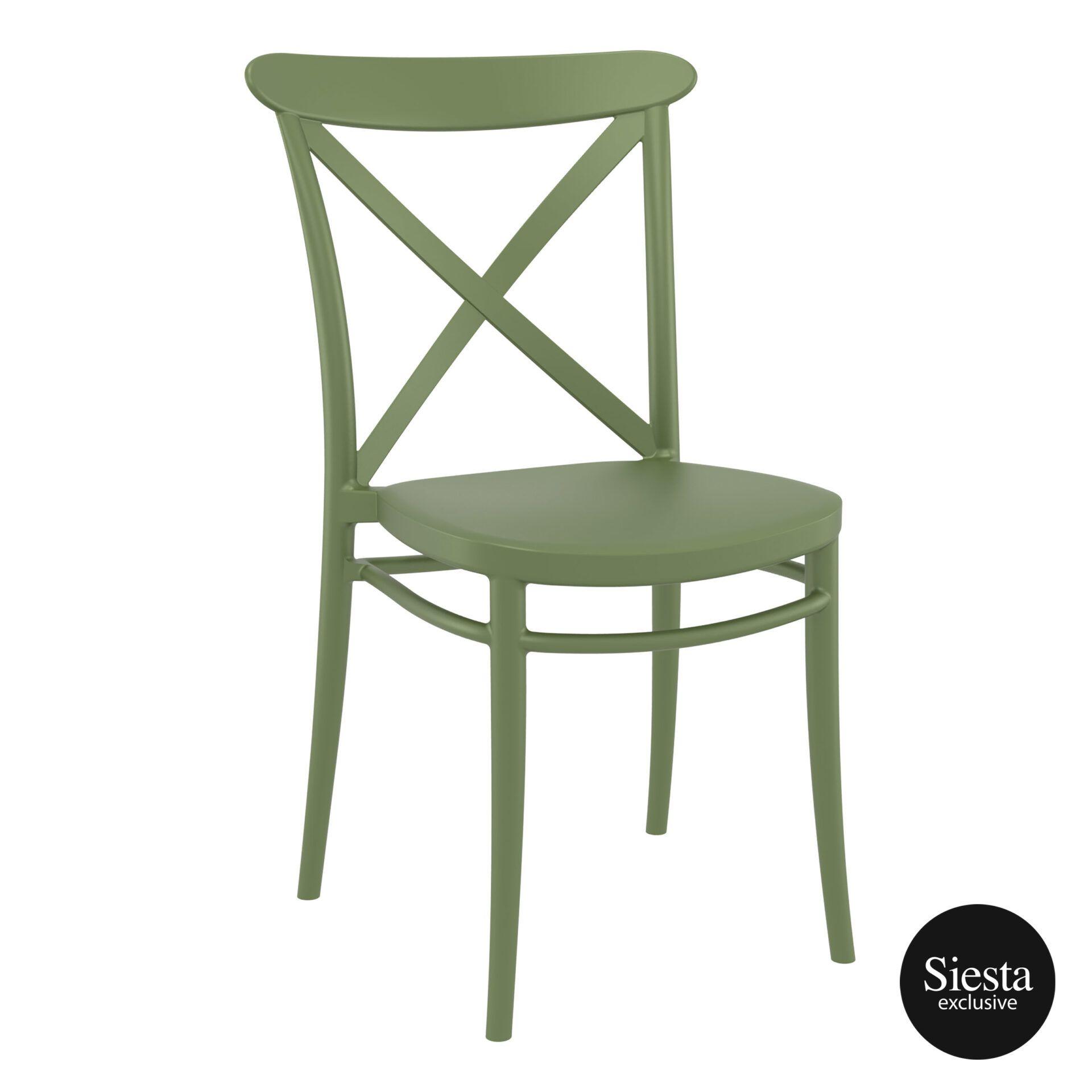 cafe polypropylene cross chair olive green front side 1 1