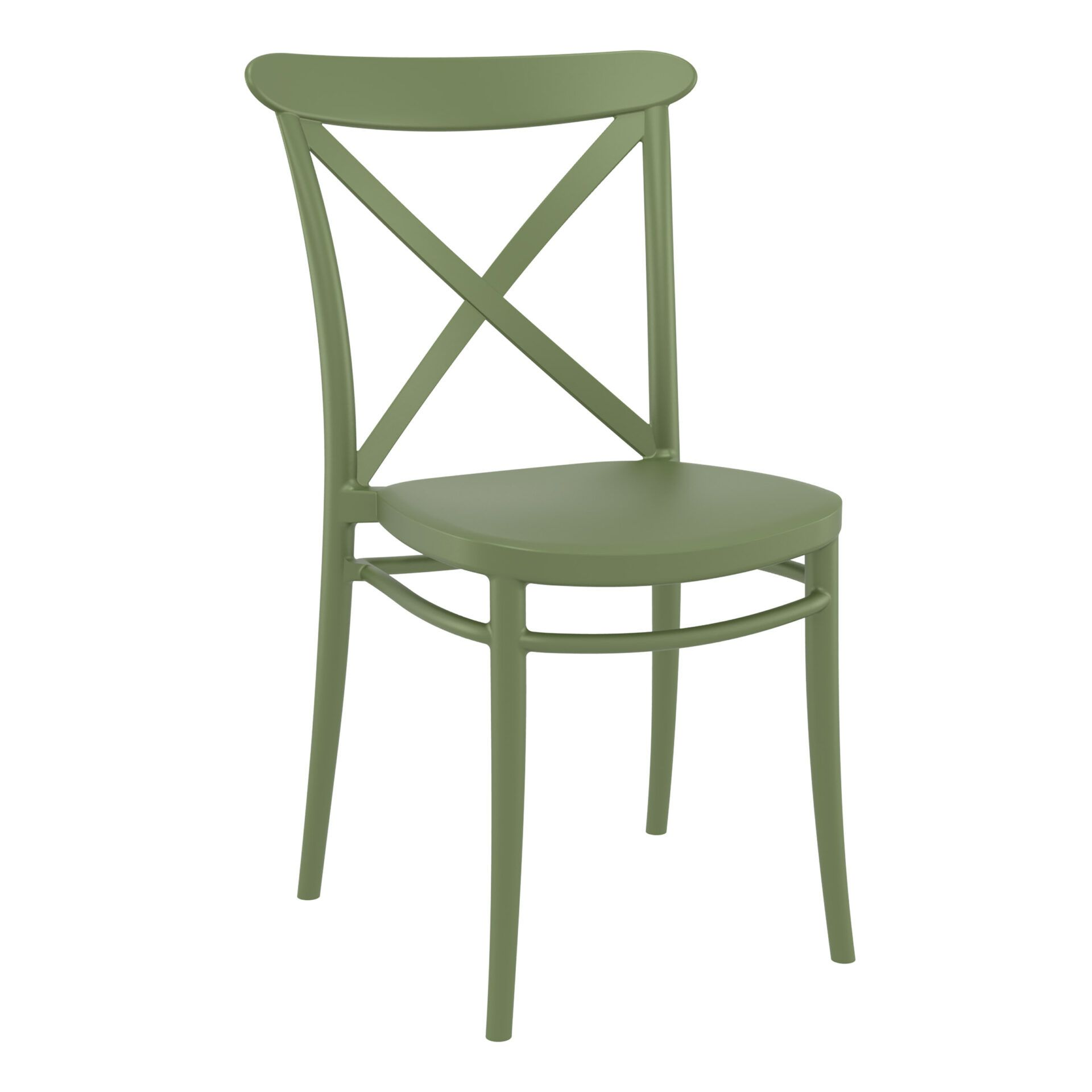 cafe polypropylene cross chair olive green front side