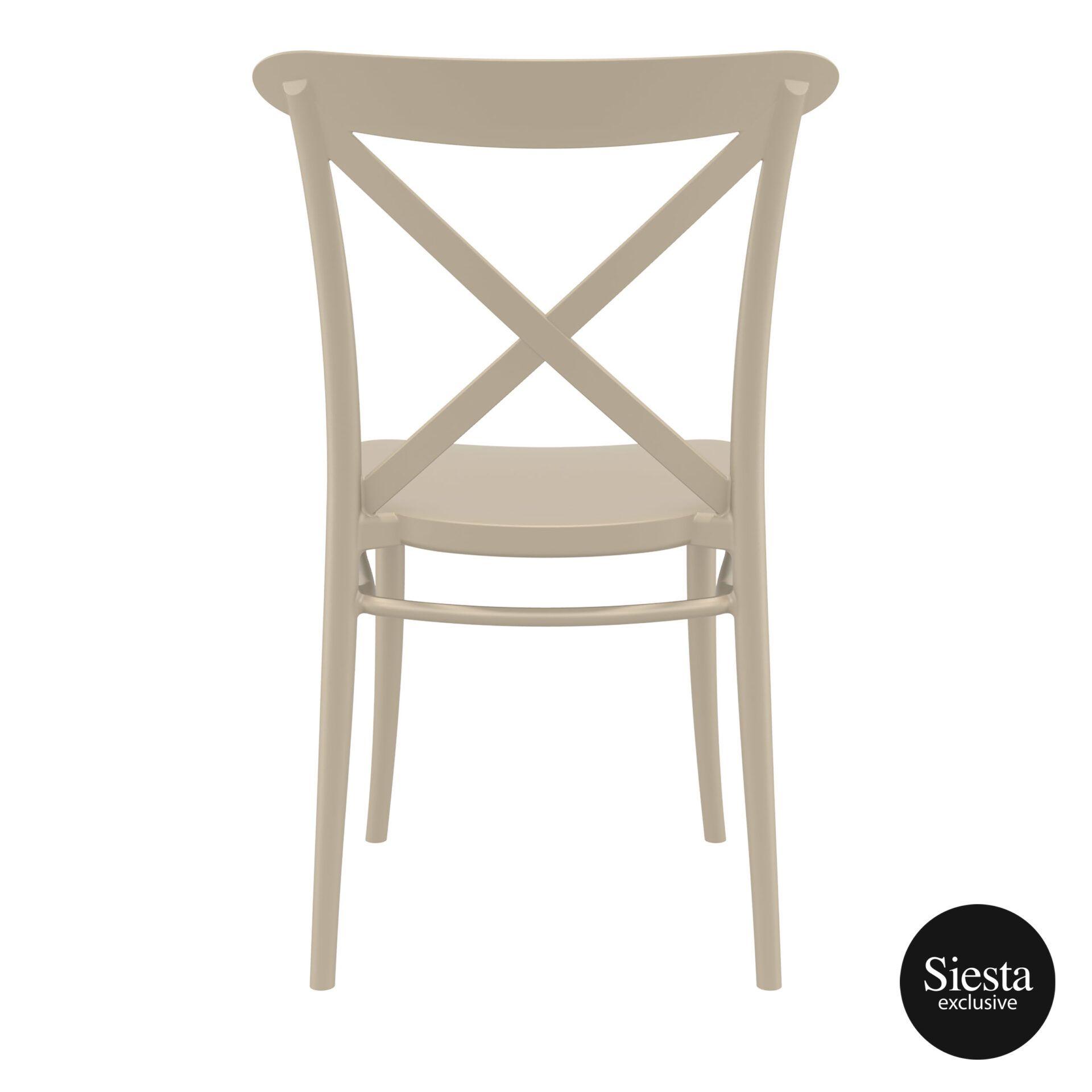 cafe polypropylene cross chair taupe back 2