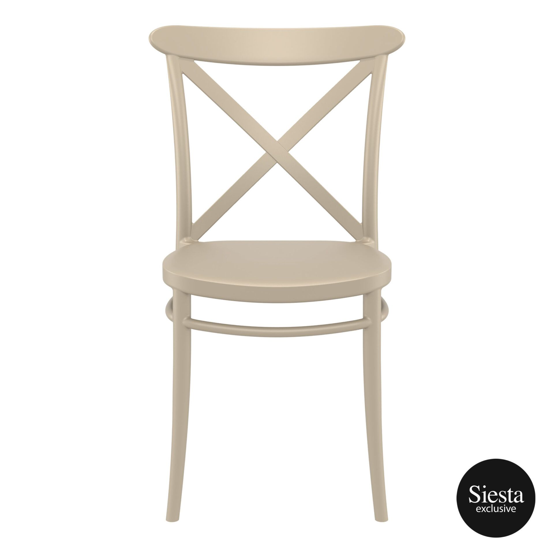 cafe polypropylene cross chair taupe front 1 1