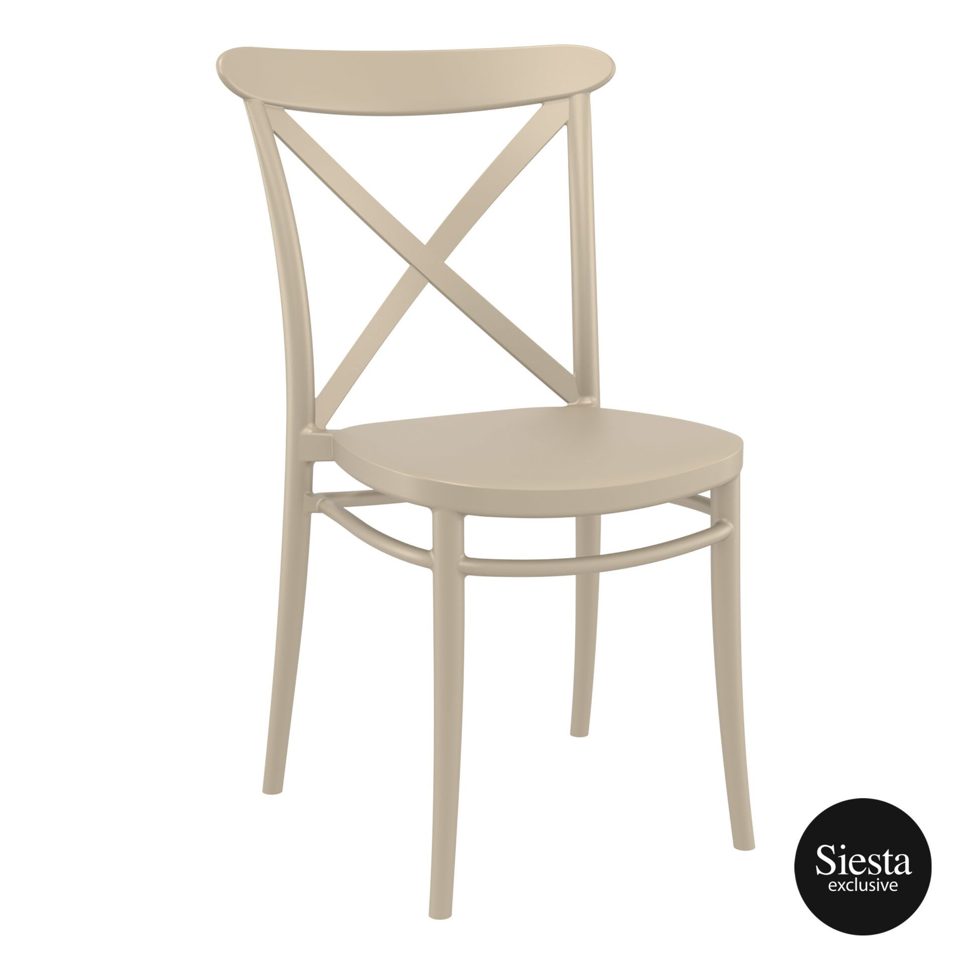 cafe polypropylene cross chair taupe front side 1 1