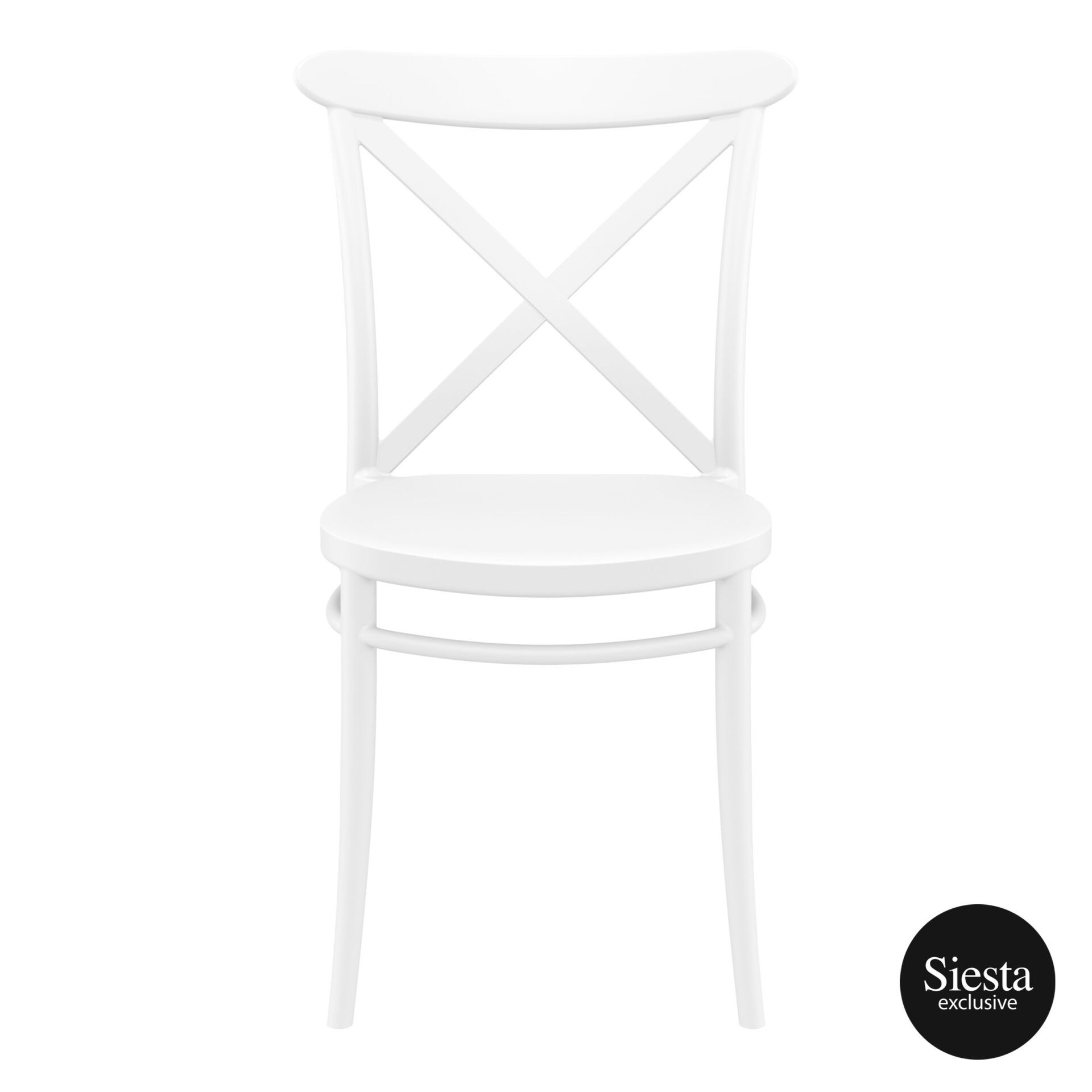 cafe polypropylene cross chair white front 2
