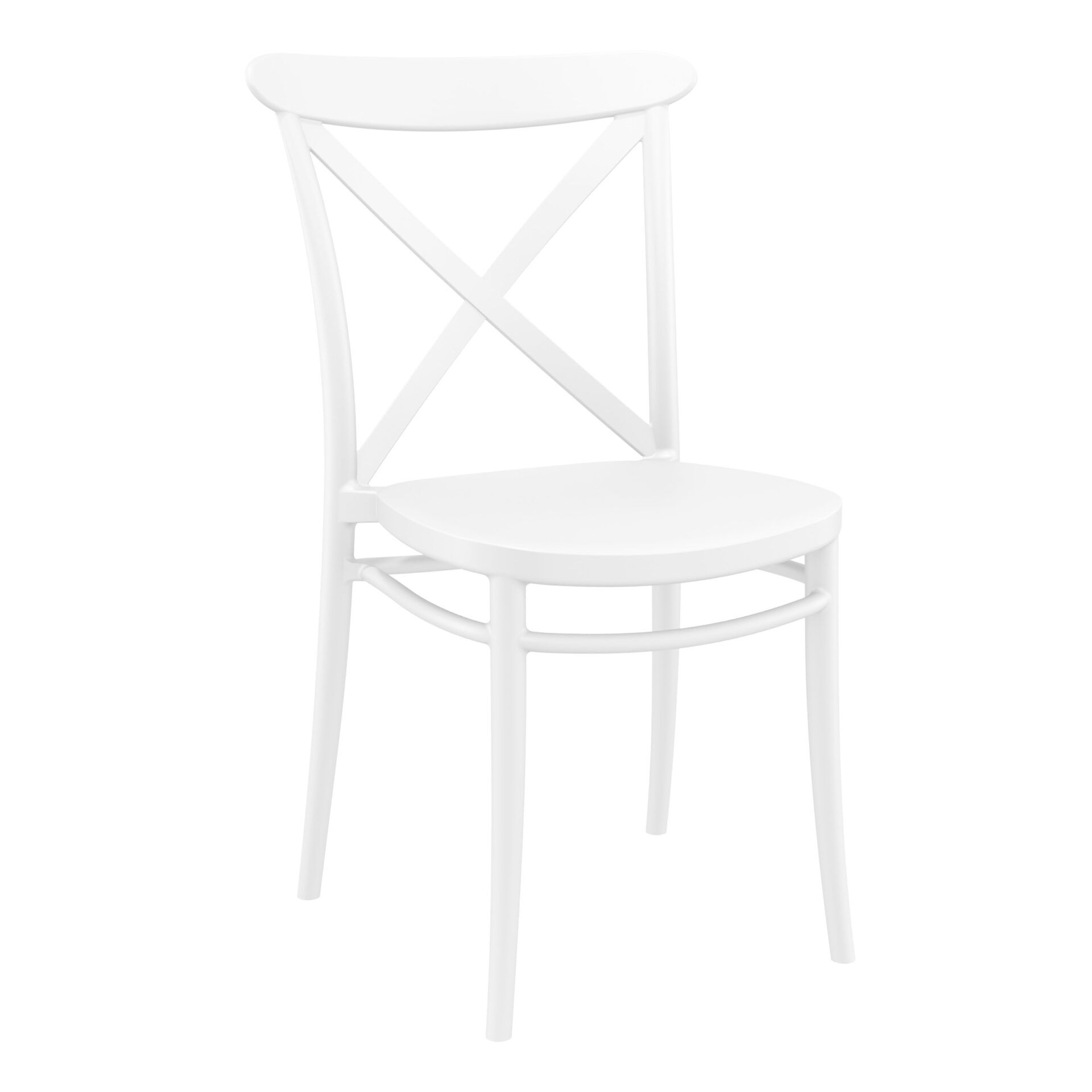 cafe polypropylene cross chair white front side 1