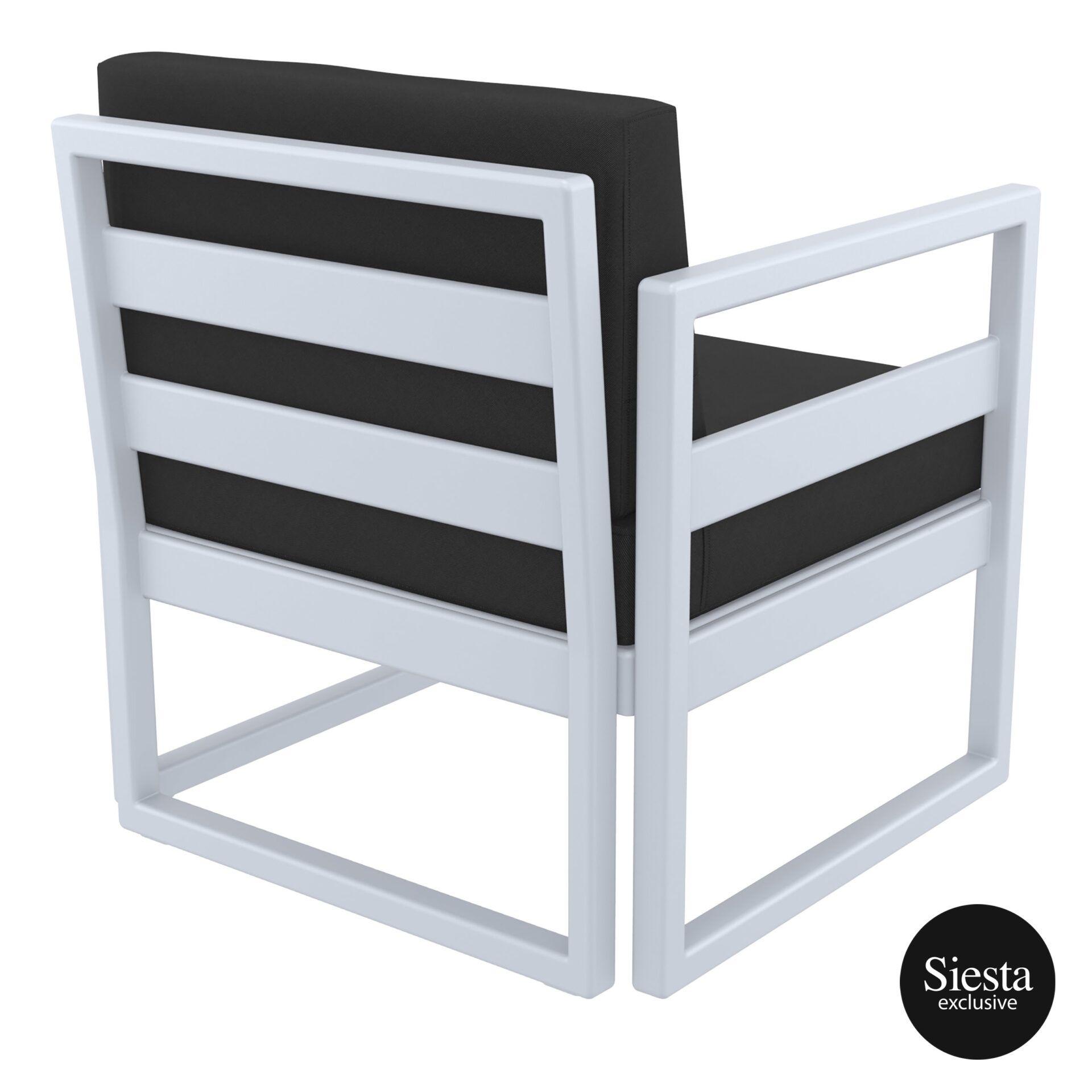 mykonos resort lounge armchair silvergrey black back side 1