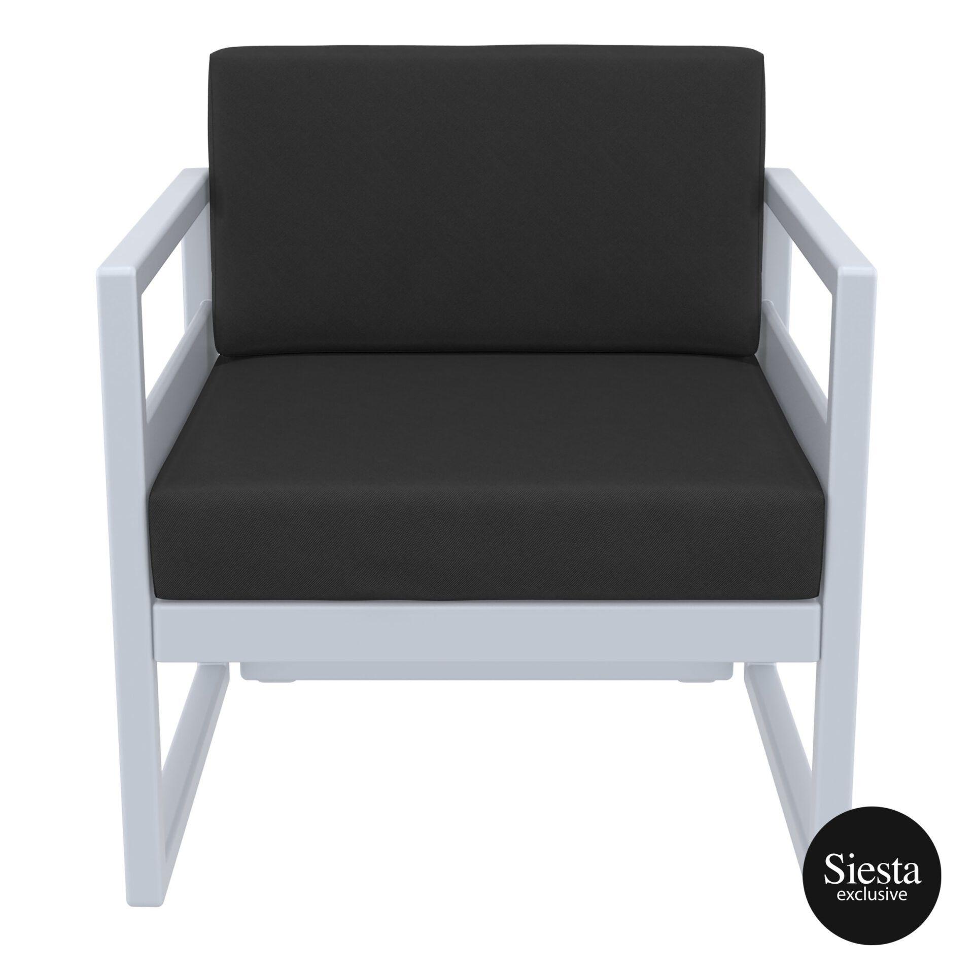 mykonos resort lounge armchair silvergrey black front 1