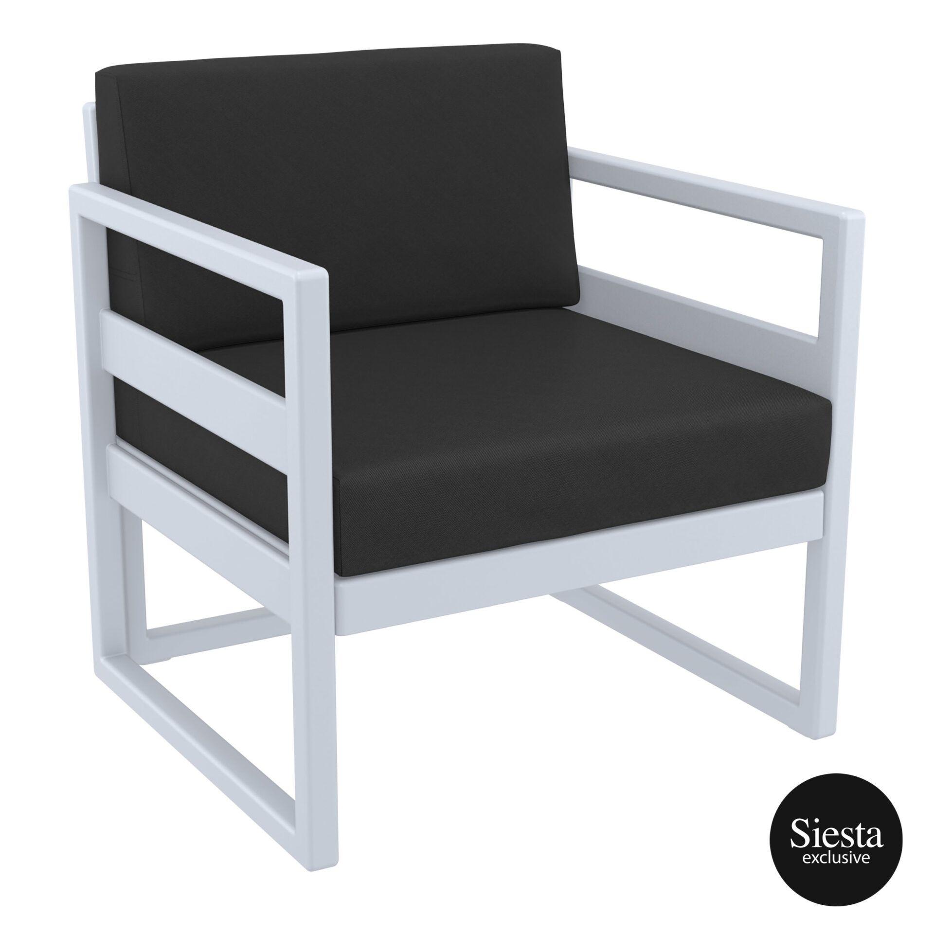 mykonos resort lounge armchair silvergrey black front side 1