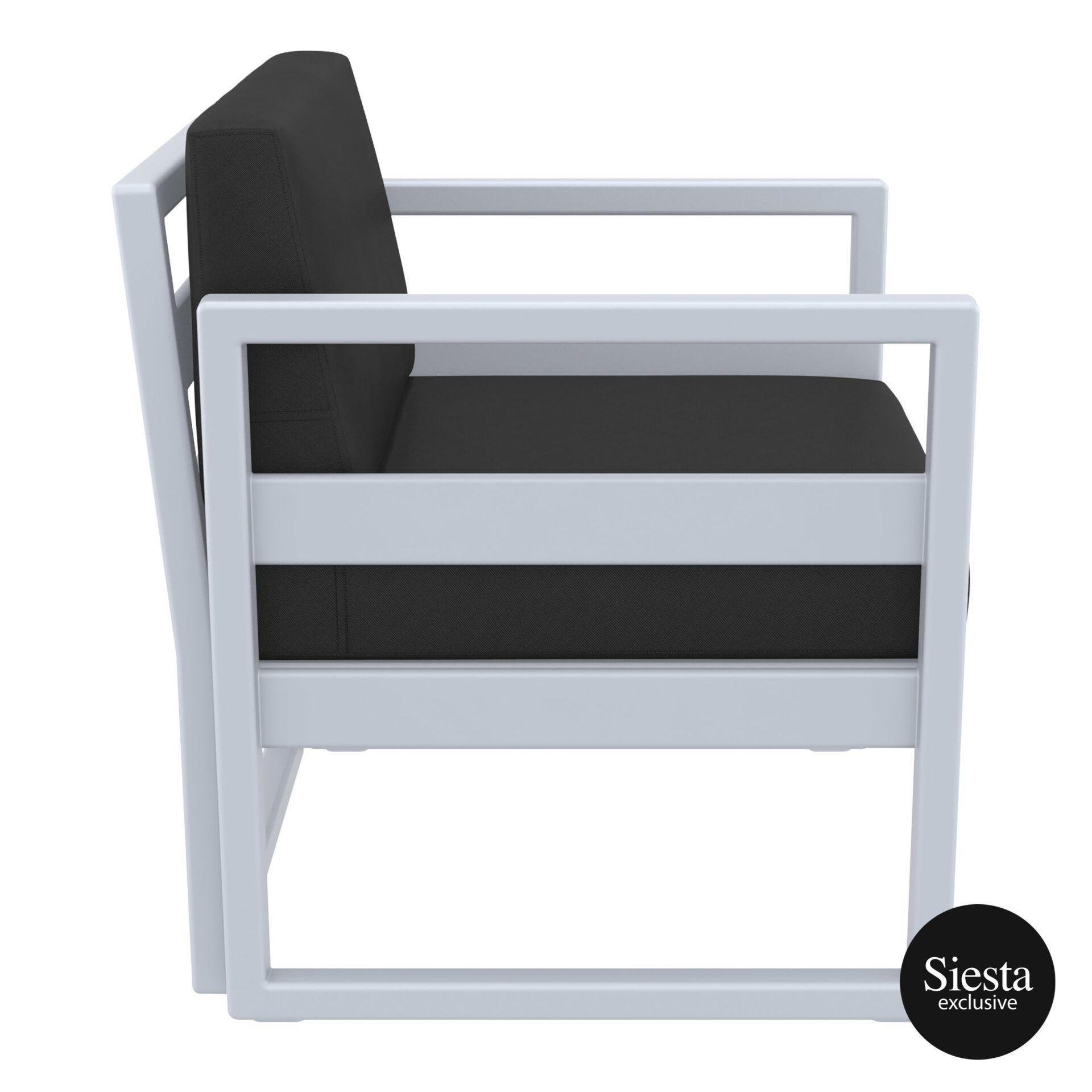 mykonos resort lounge armchair silvergrey black side 1
