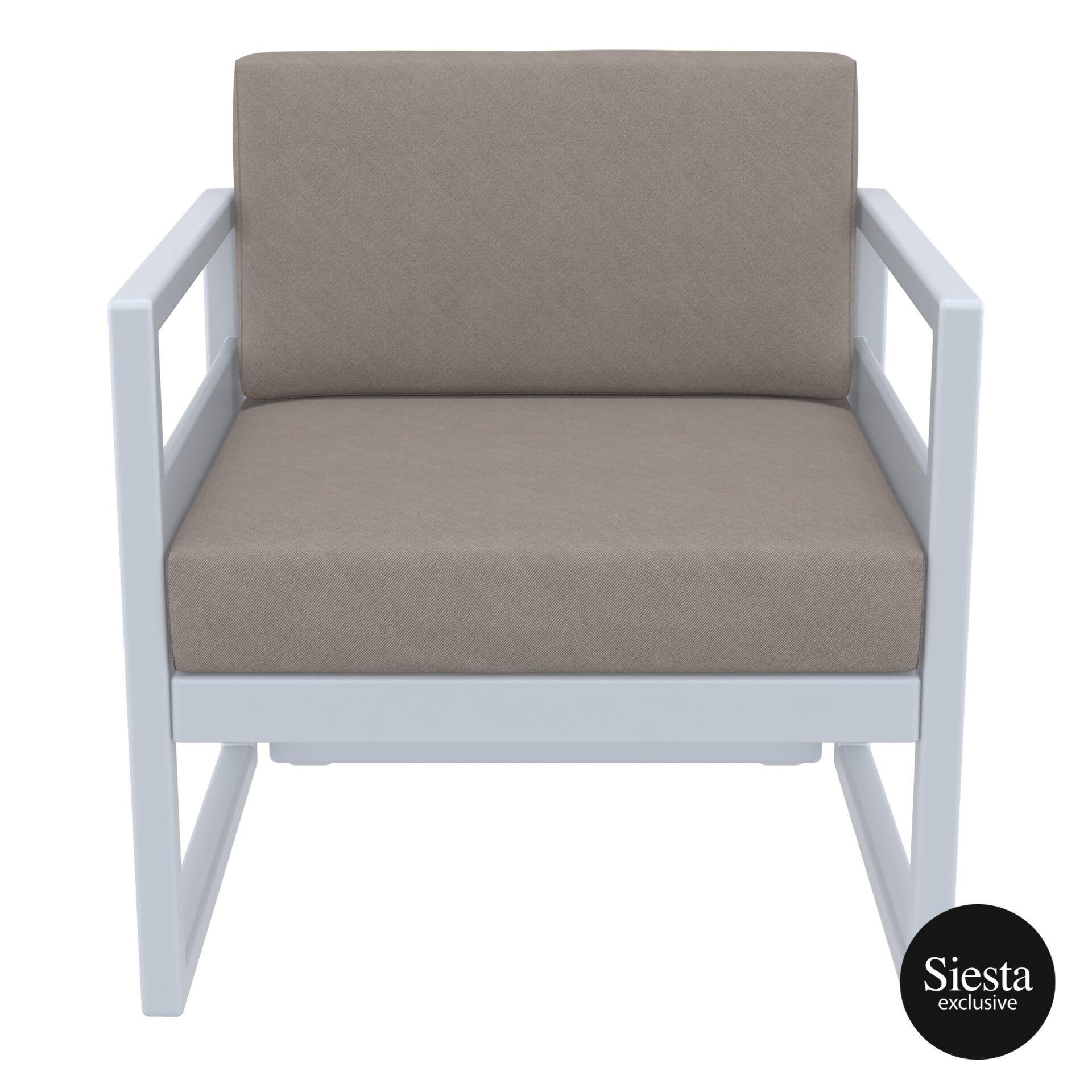 mykonos resort lounge armchair silvergrey brown front 1