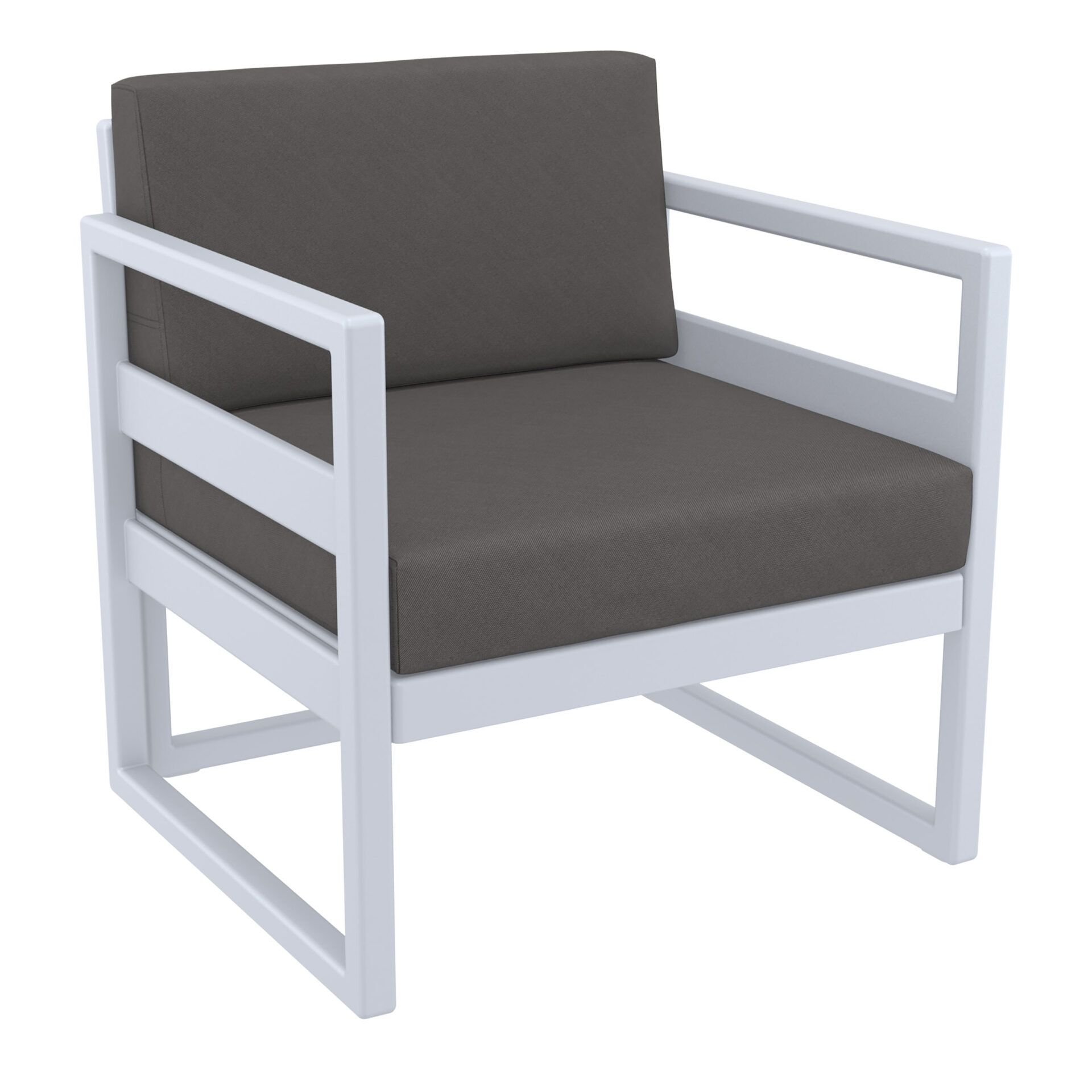 mykonos resort lounge armchair silvergrey darkgrey front side