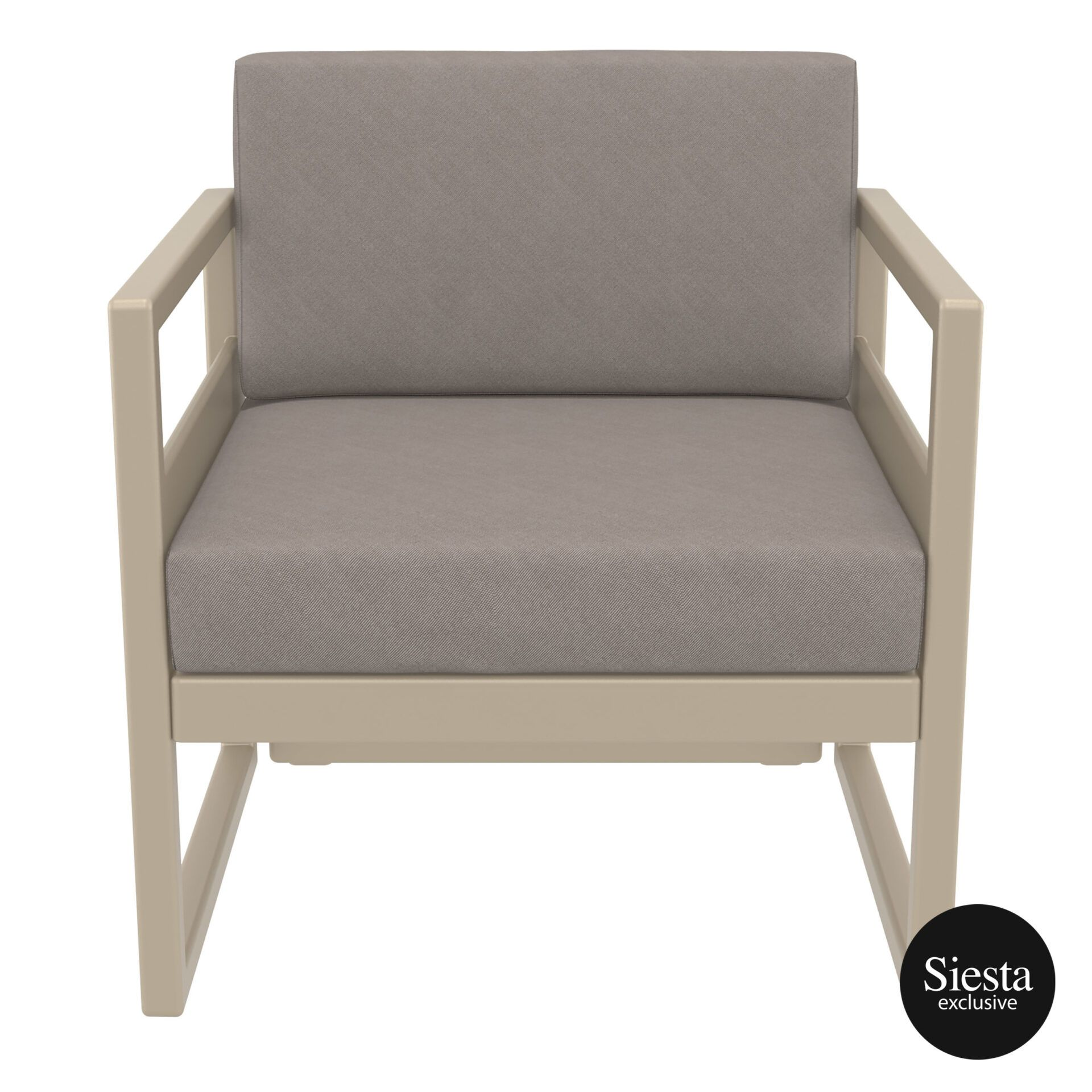 mykonos resort lounge armchair taupe brown front 1