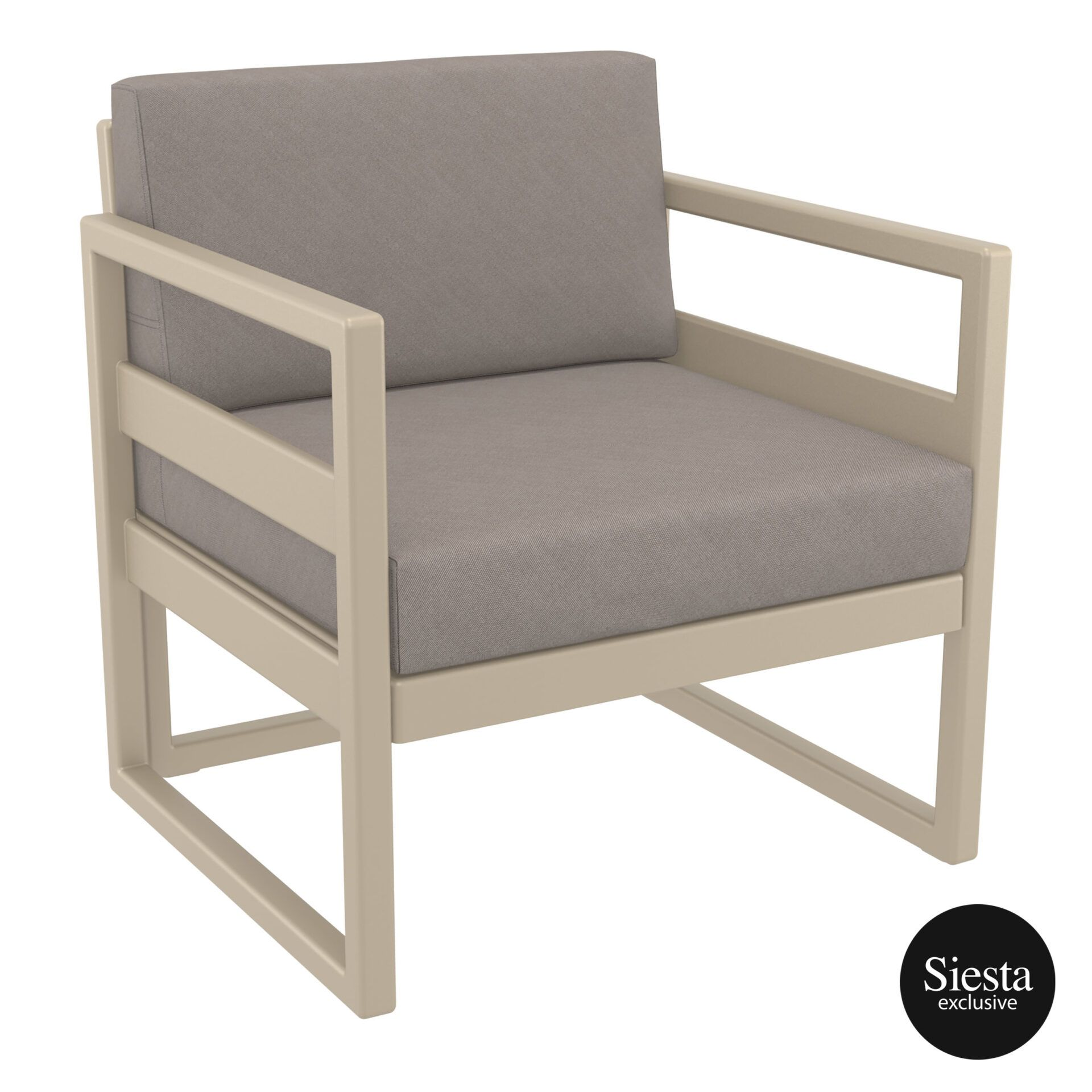 mykonos resort lounge armchair taupe brown front side 1