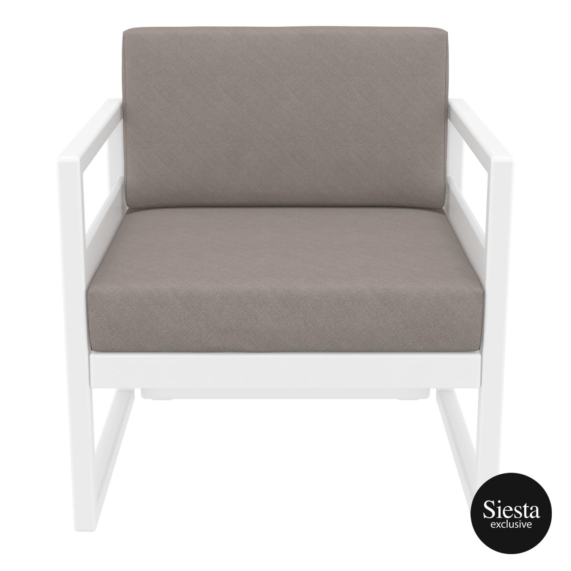 mykonos resort lounge armchair white brown front 1