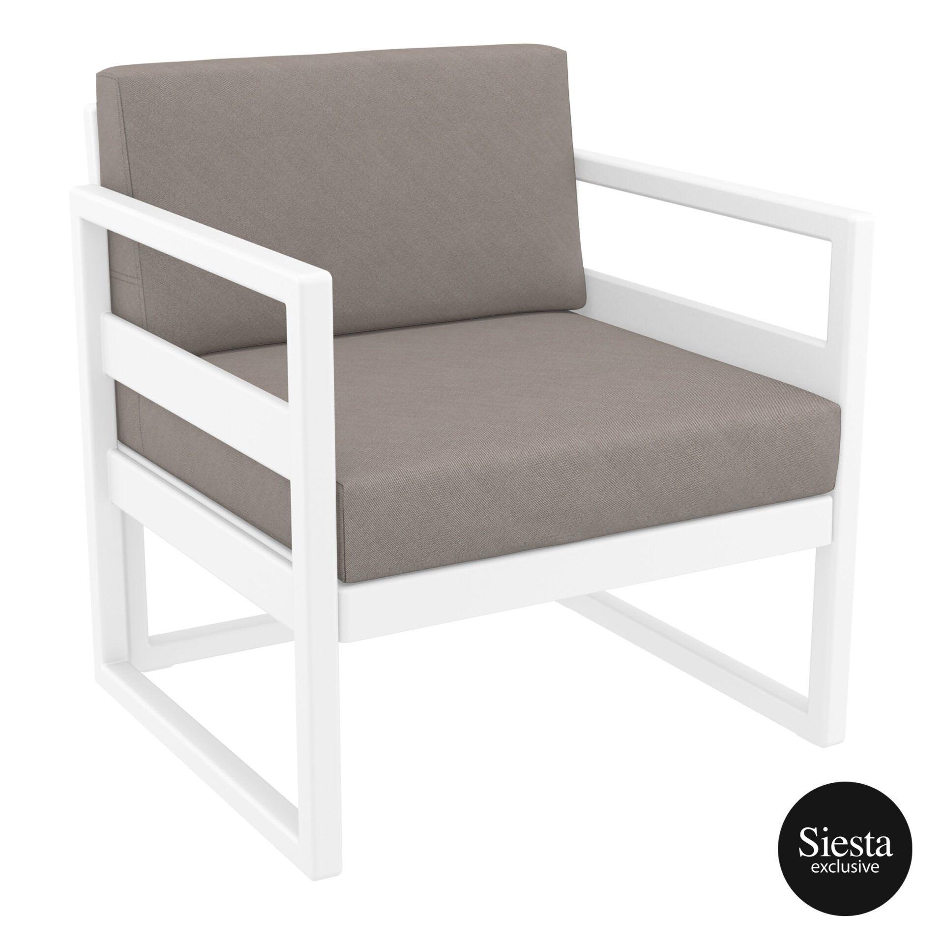 mykonos resort lounge armchair white brown front side 1