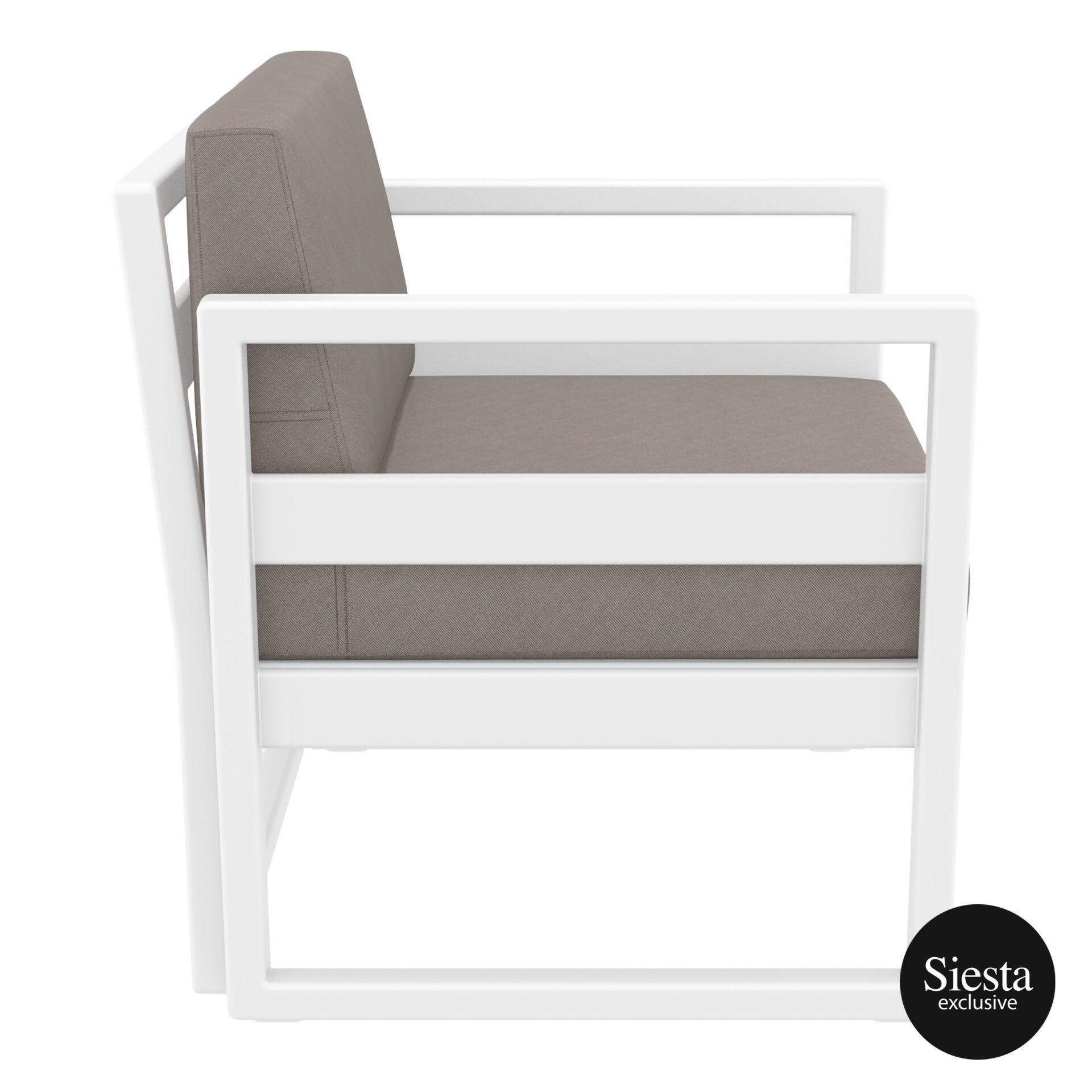 mykonos resort lounge armchair white brown side 1
