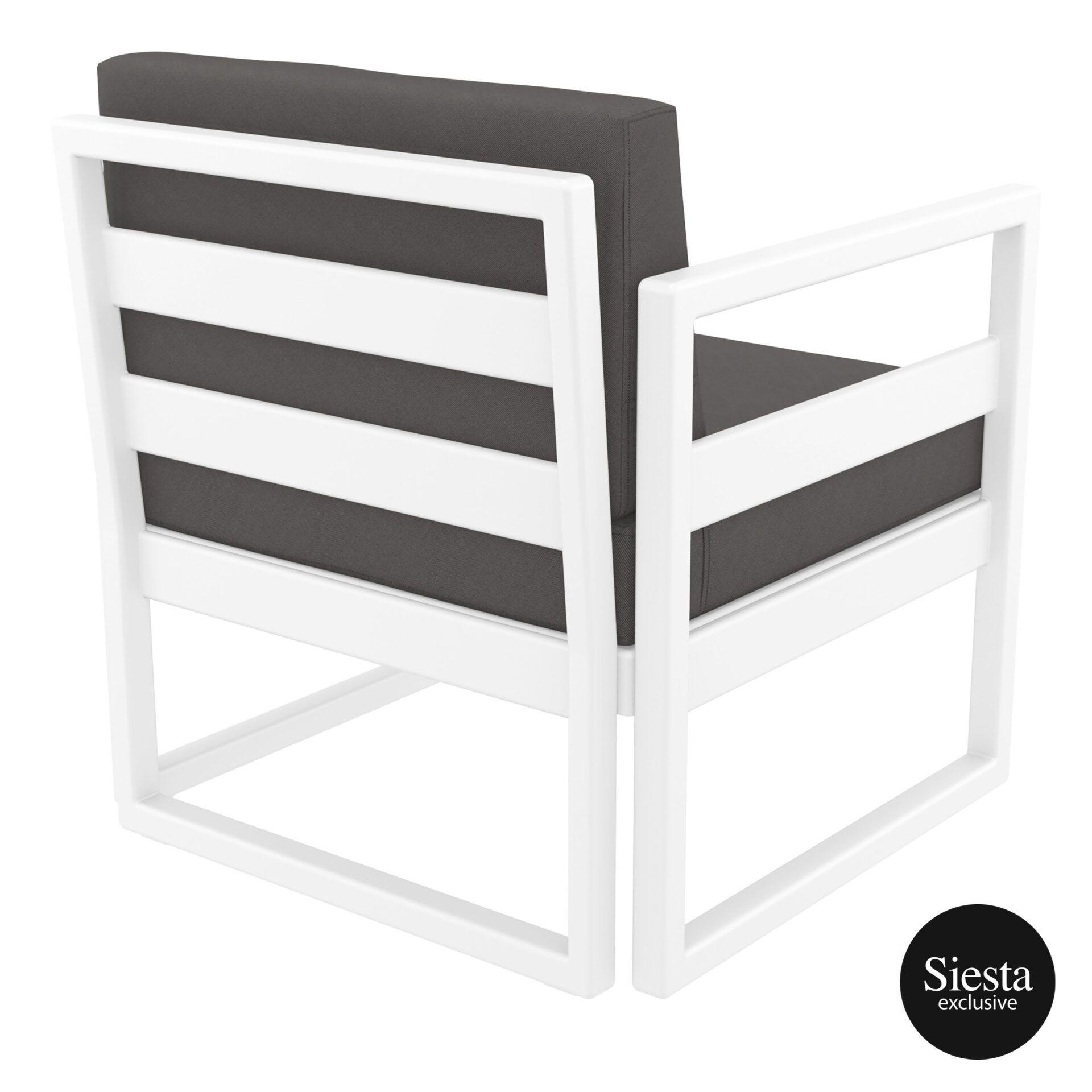 mykonos resort lounge armchair white darkgrey back side 1