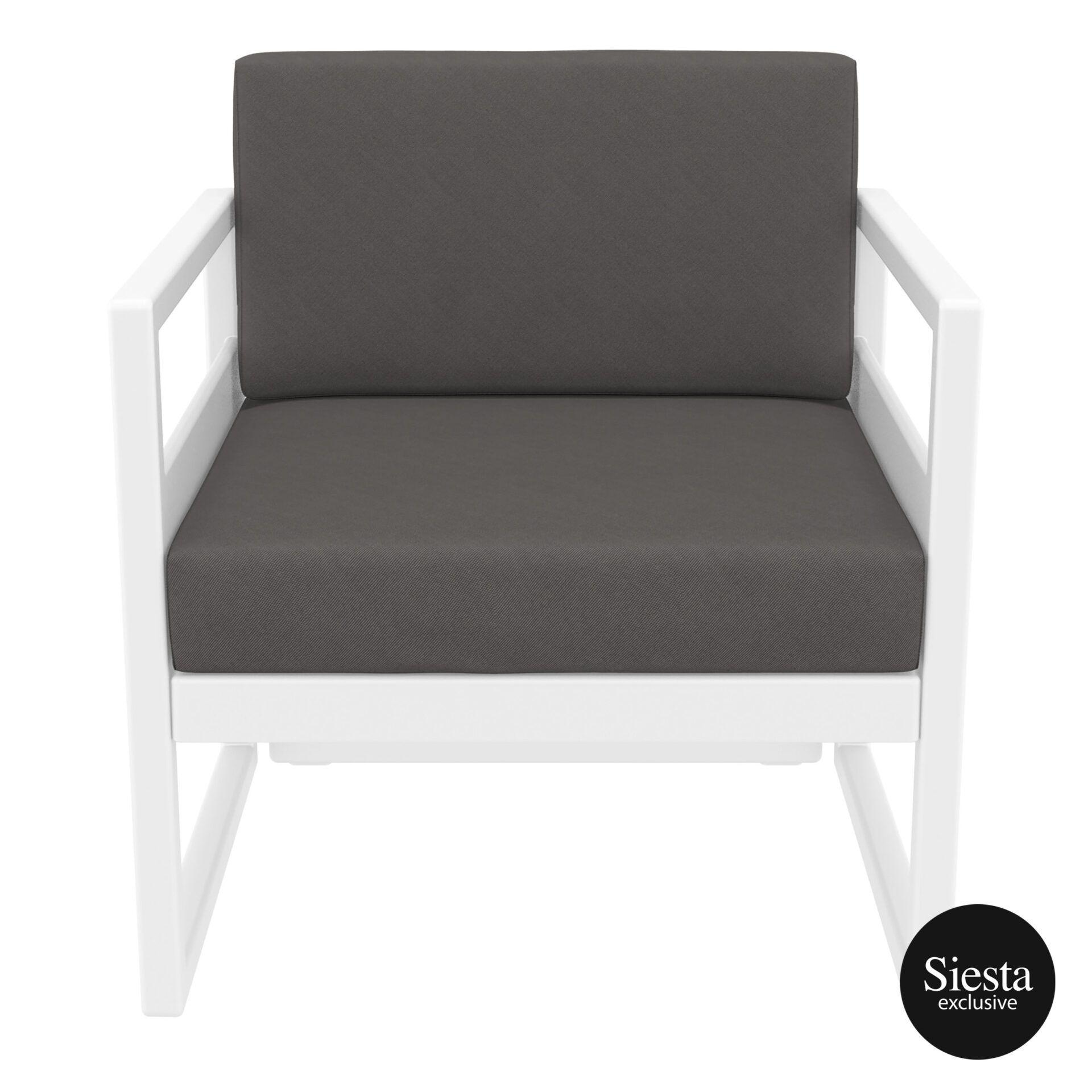 mykonos resort lounge armchair white darkgrey front 1
