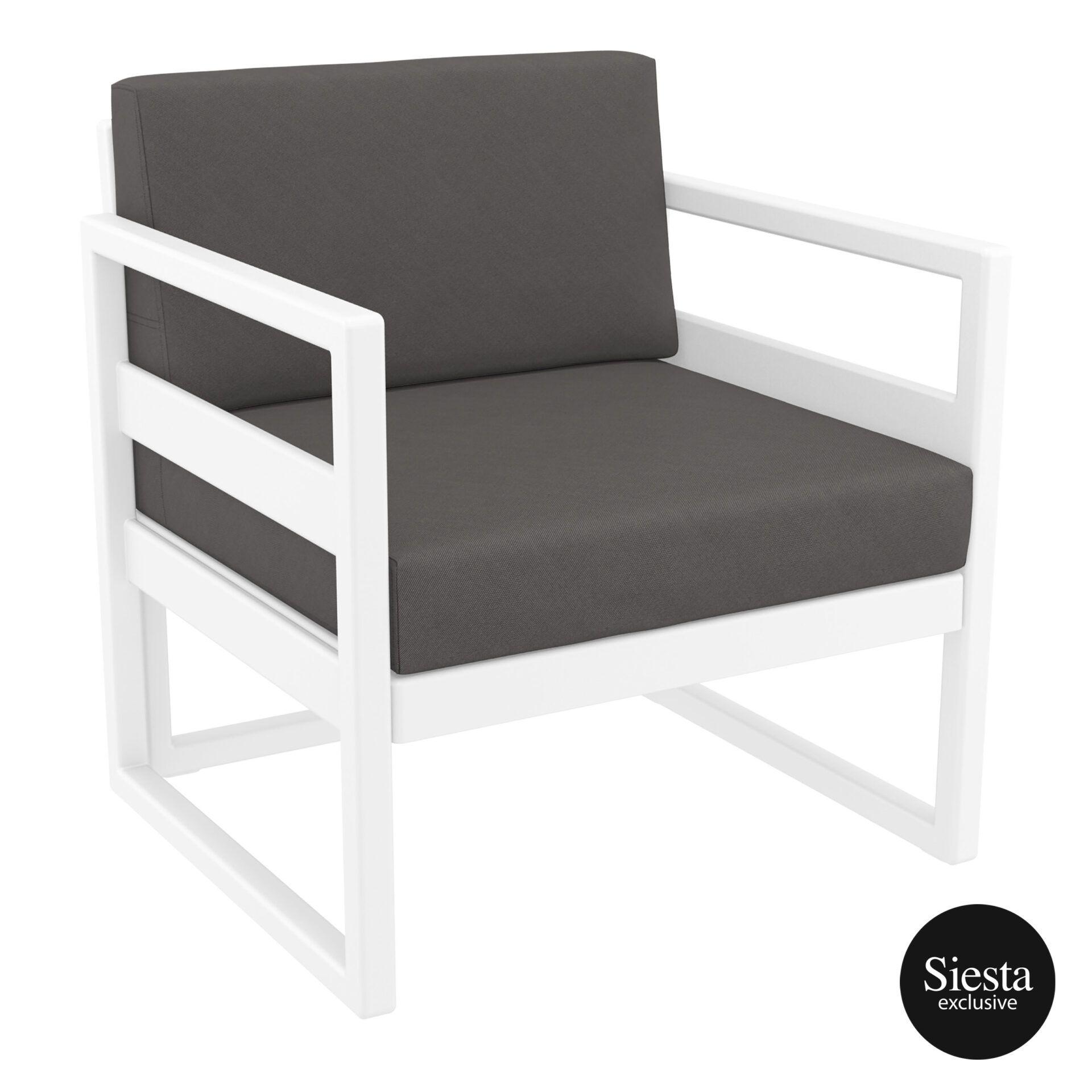 mykonos resort lounge armchair white darkgrey front side 1