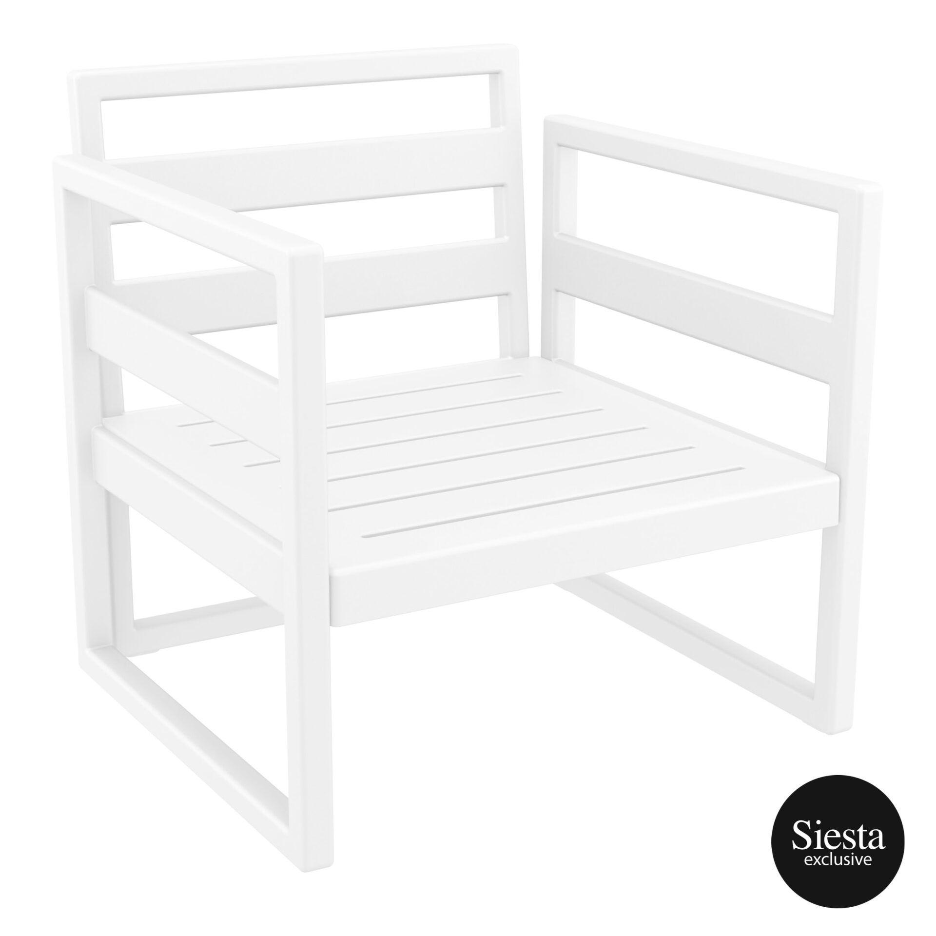 mykonos resort lounge armchair white front side 1