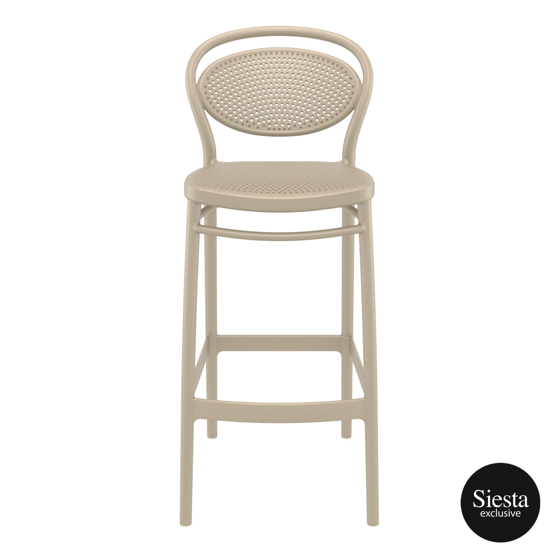 plastic bar marcel barstool 75 taupe front 1