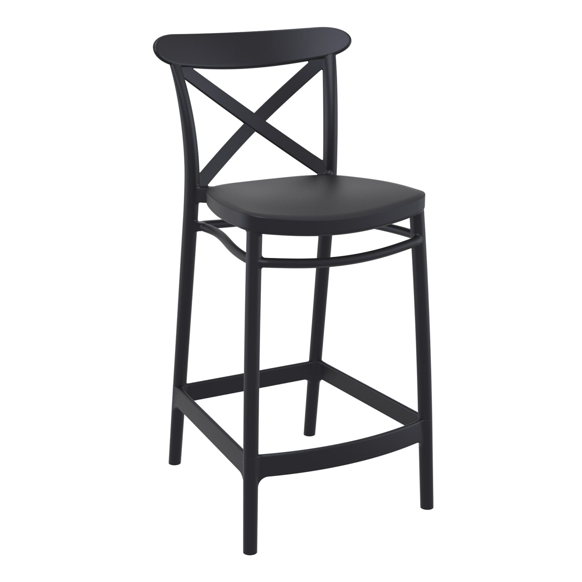 polypropylene bar cross barstool 65 black front side
