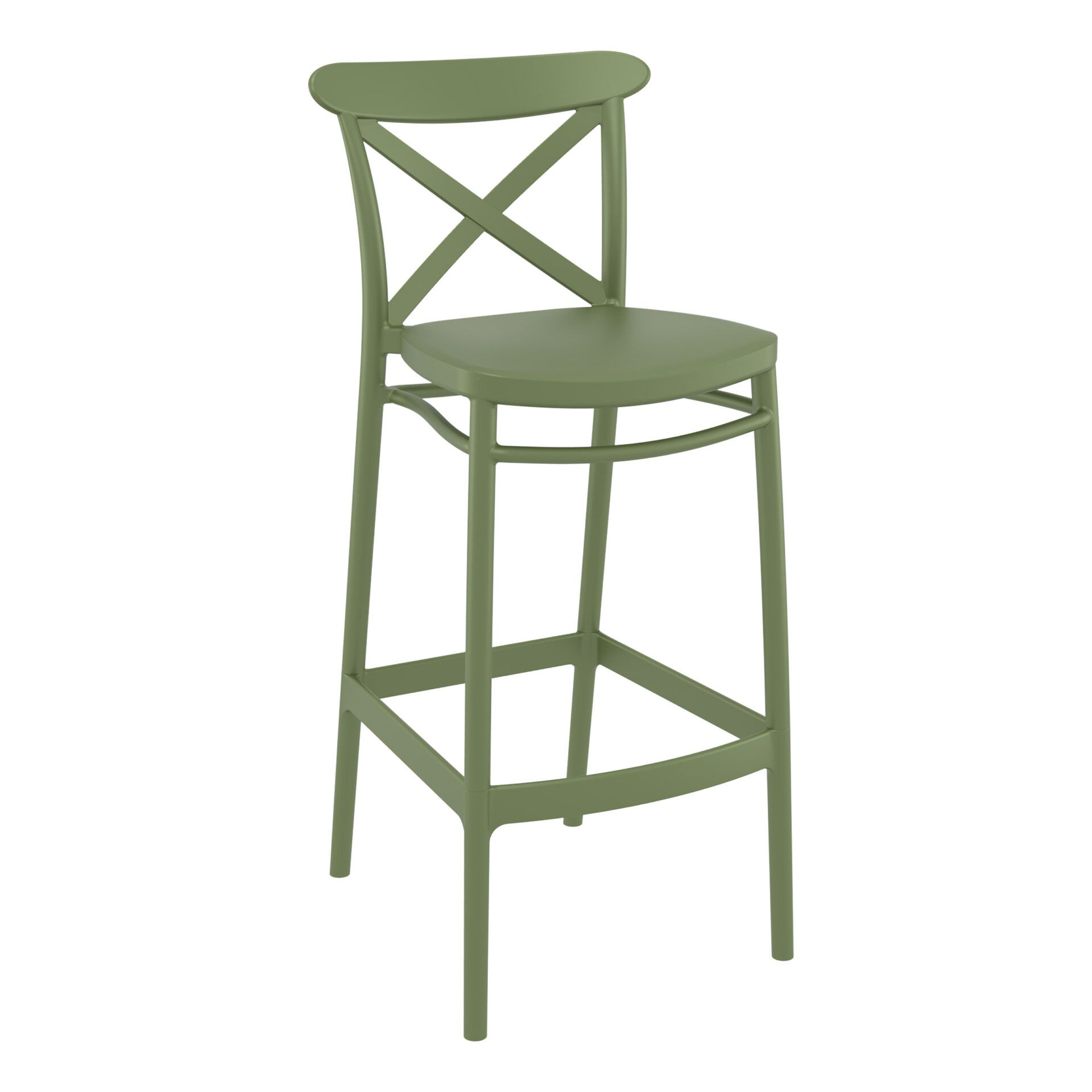 polypropylene bar cross barstool 75 olive green front side