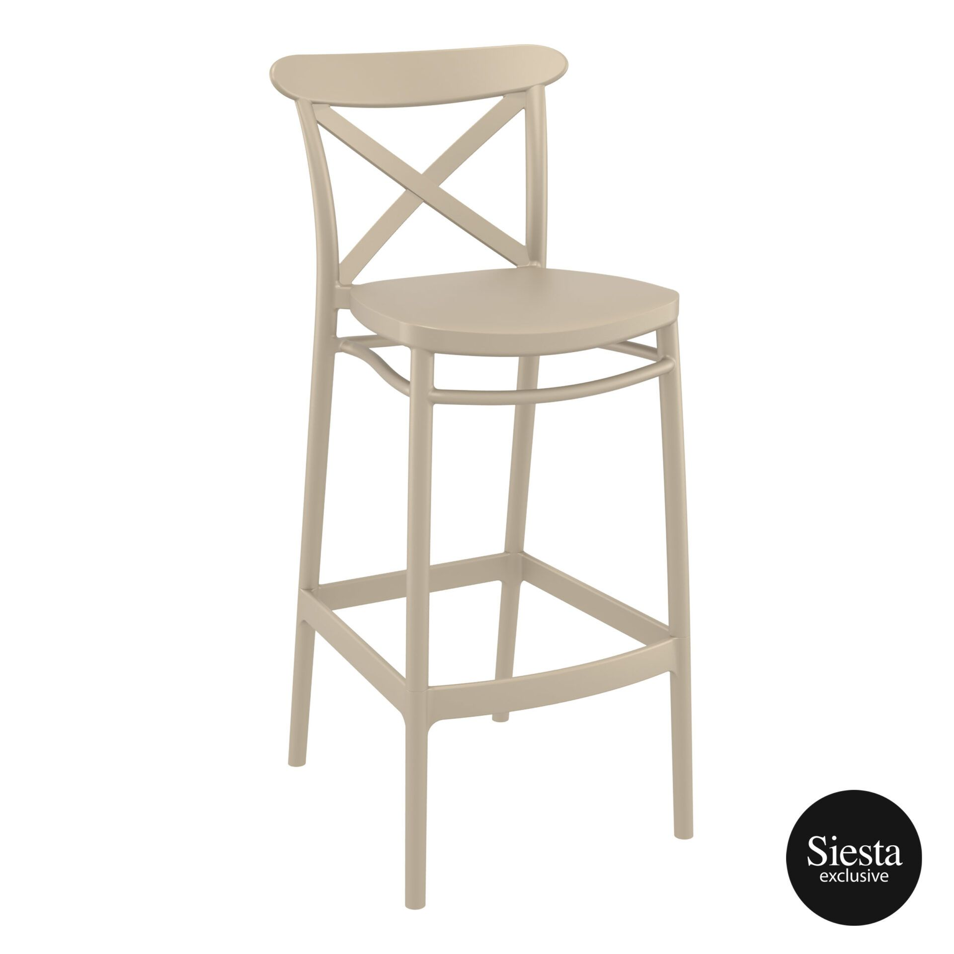 polypropylene bar cross barstool 75 taupe front side 1