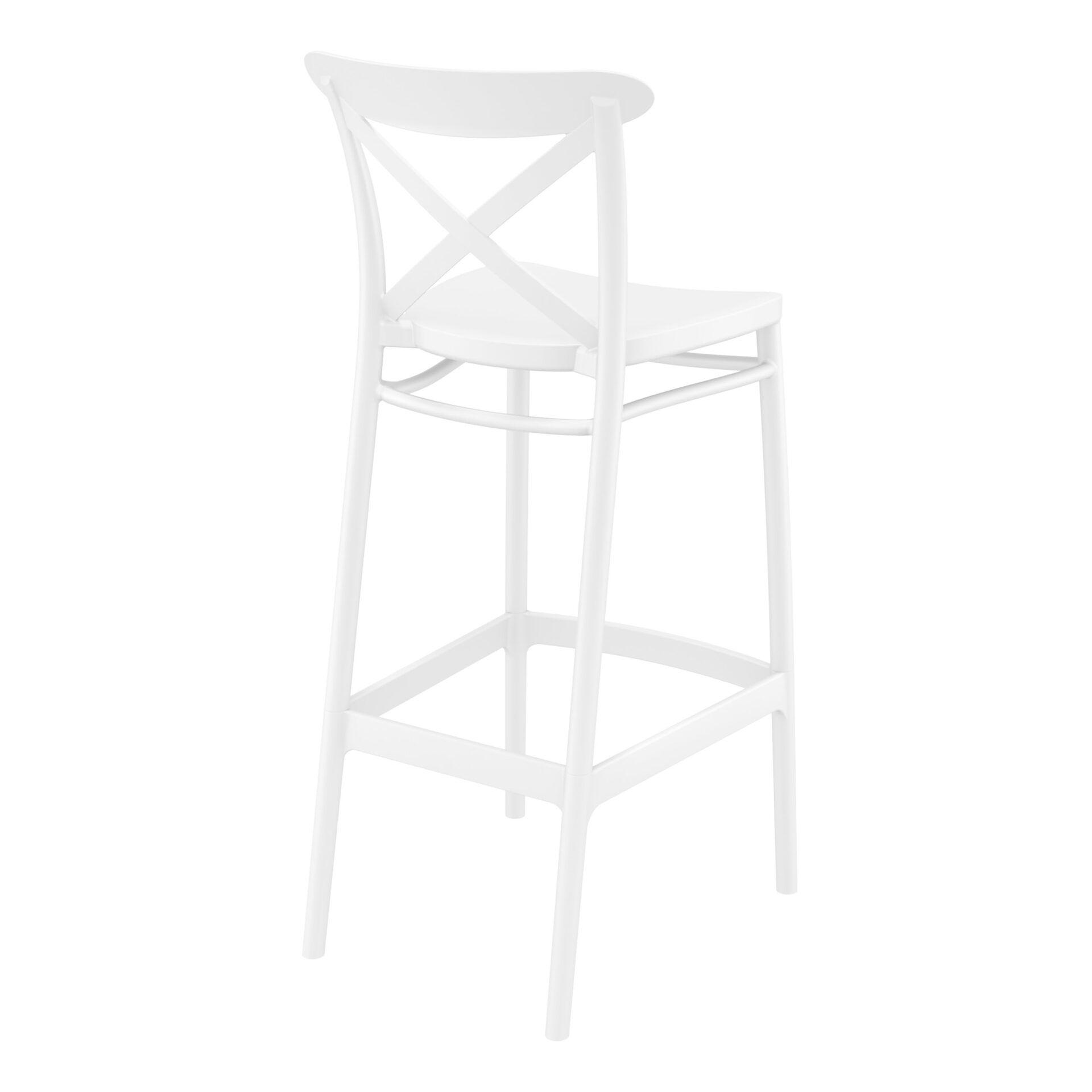 polypropylene bar cross barstool 75 white back side